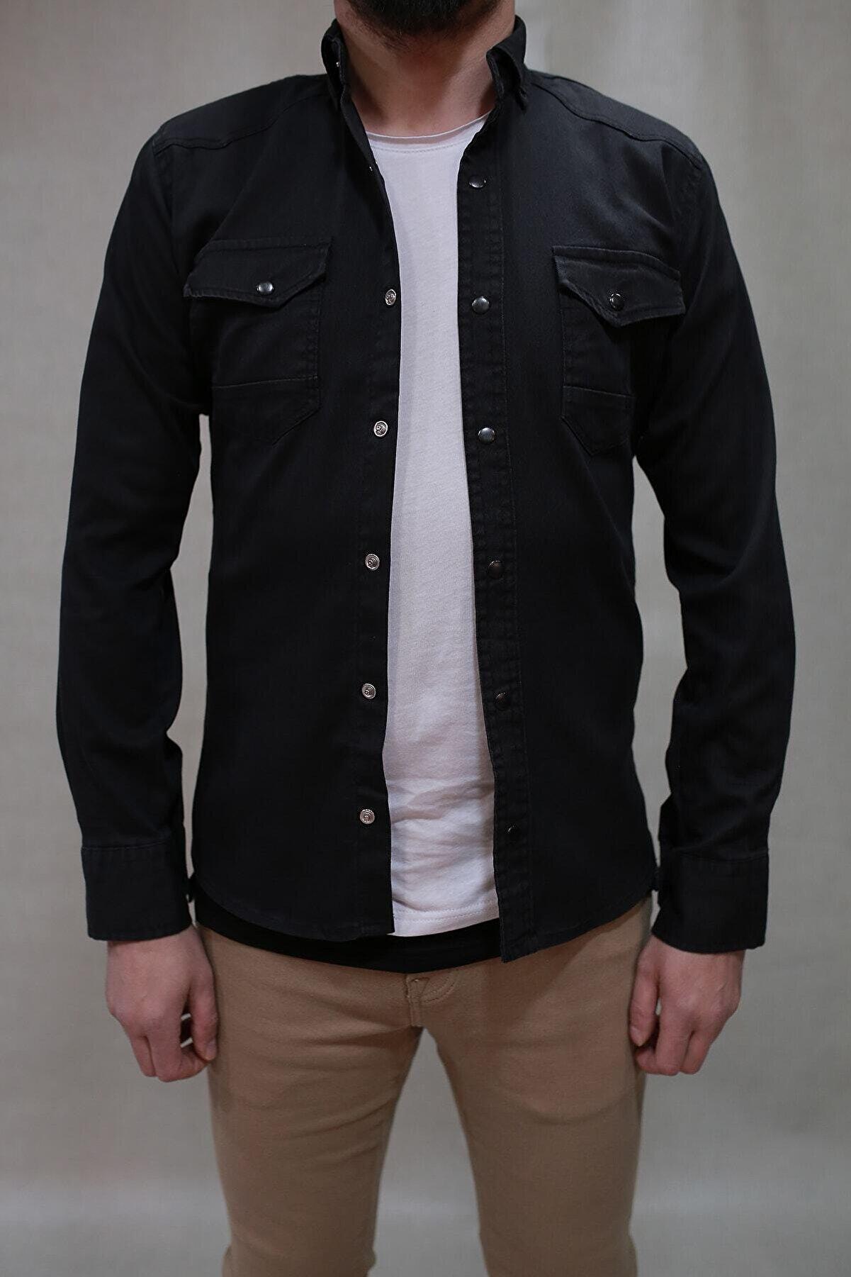 YXC Erkek Kot Gömlek Siyah