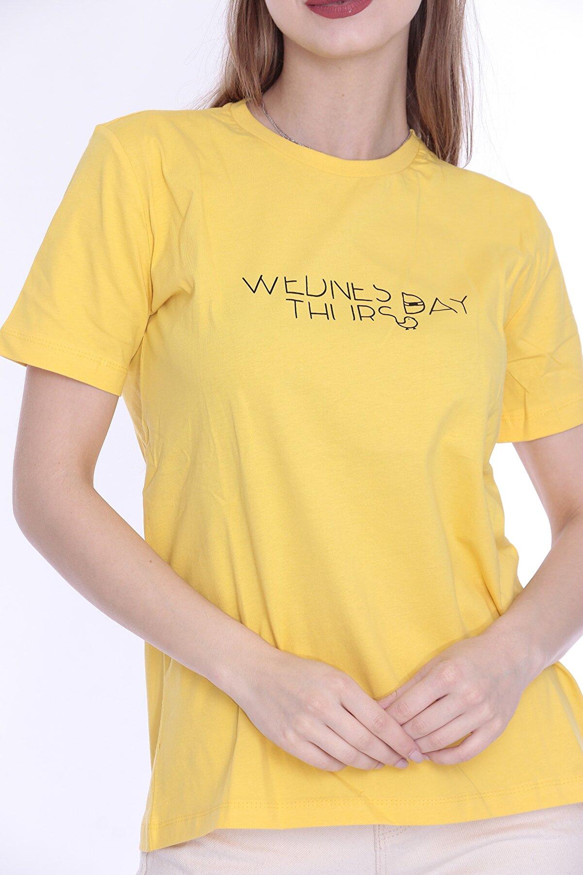 SMED TASARIM Sarı Baskılı Kadın T-shirt