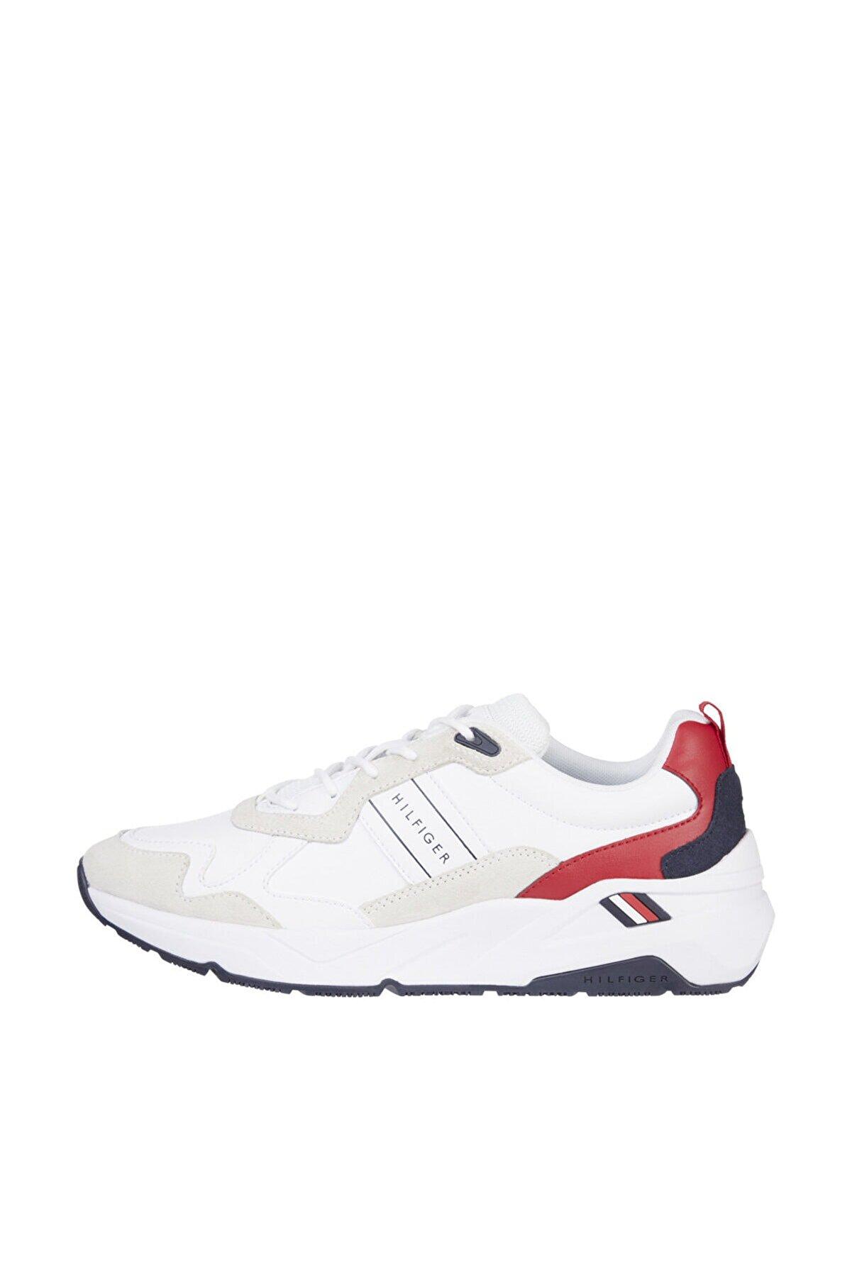Tommy Hilfiger Erkek Beyaz Sneaker Premium Leather Runner Detail FM0FM03428