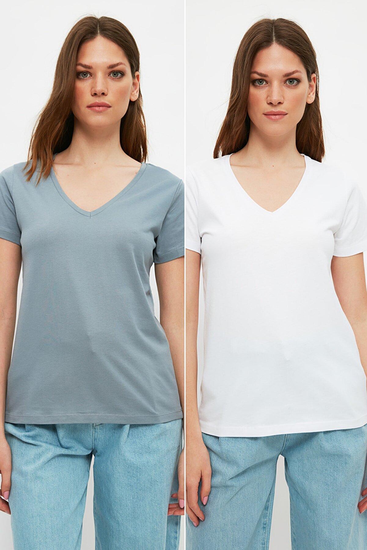 TRENDYOLMİLLA Beyaz-Gri %100 Pamuk Süprem V Yaka 2'li Paket Örme T-Shirt TWOSS20TS0142