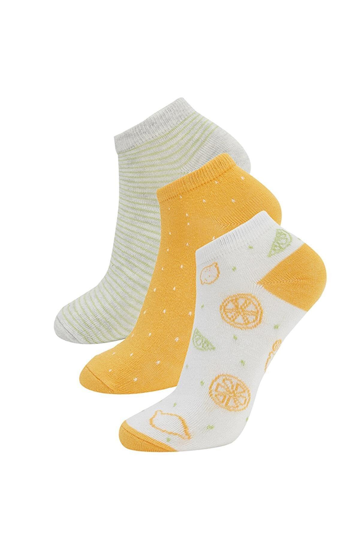 Defacto Kadın Sarı Desenli 3'Lü Patik Çorap T7406AZ21SPYL