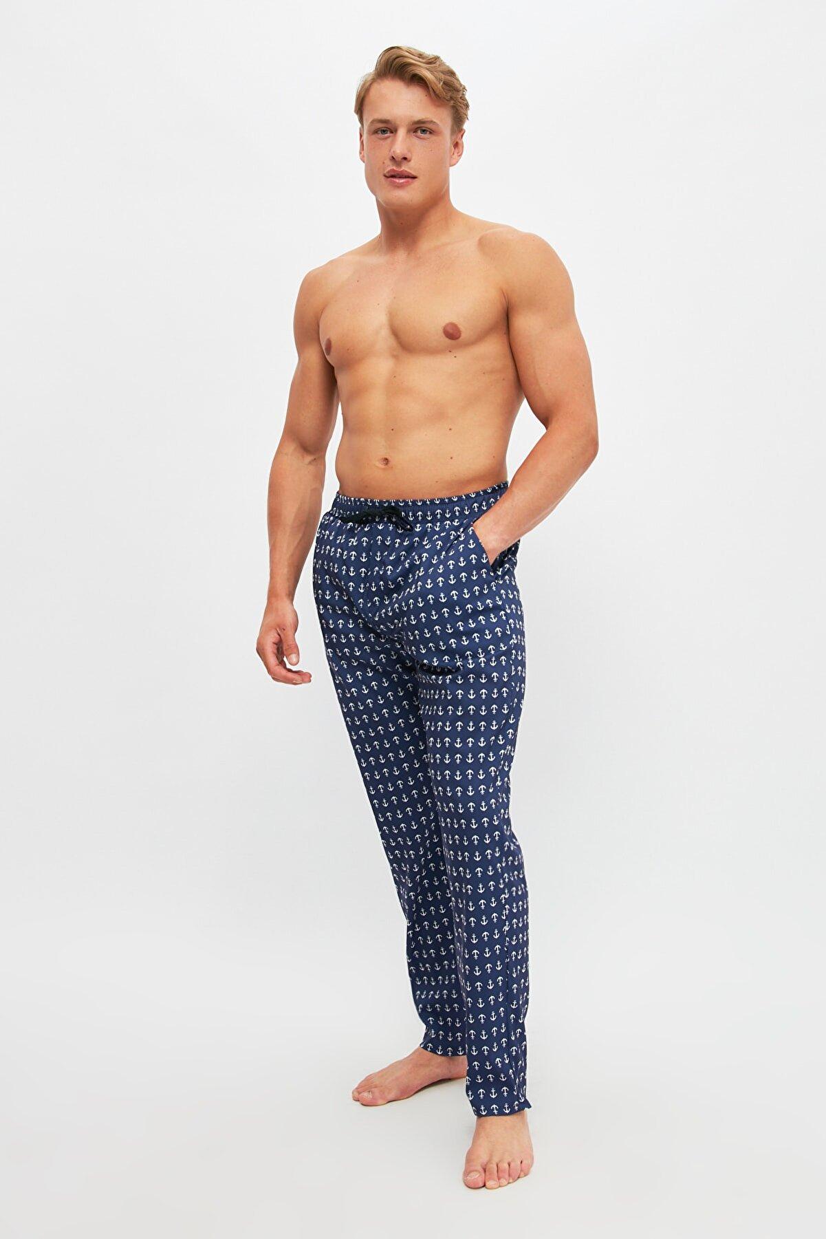 TRENDYOL MAN Lacivert Çapa Desenli Dokuma Pijama Altı THMSS21PJ0006