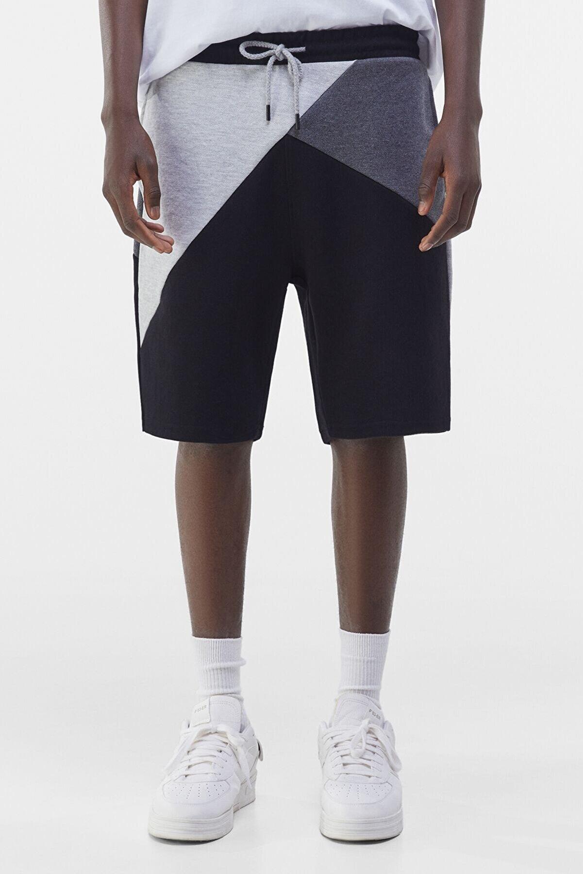 Bershka Erkek Siyah Kırkyama Jogger Bermuda Şort