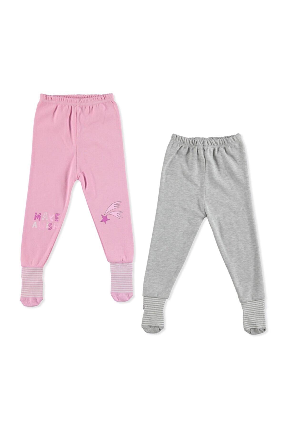 HelloBaby Bebek Pembe Basic Çoraplı Pijama Pantolon 2'li