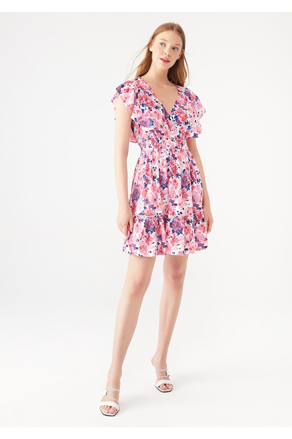 Mavi Kadın Çiçek Baskılı Fırfırlı Pembe Elbise 131137-35344