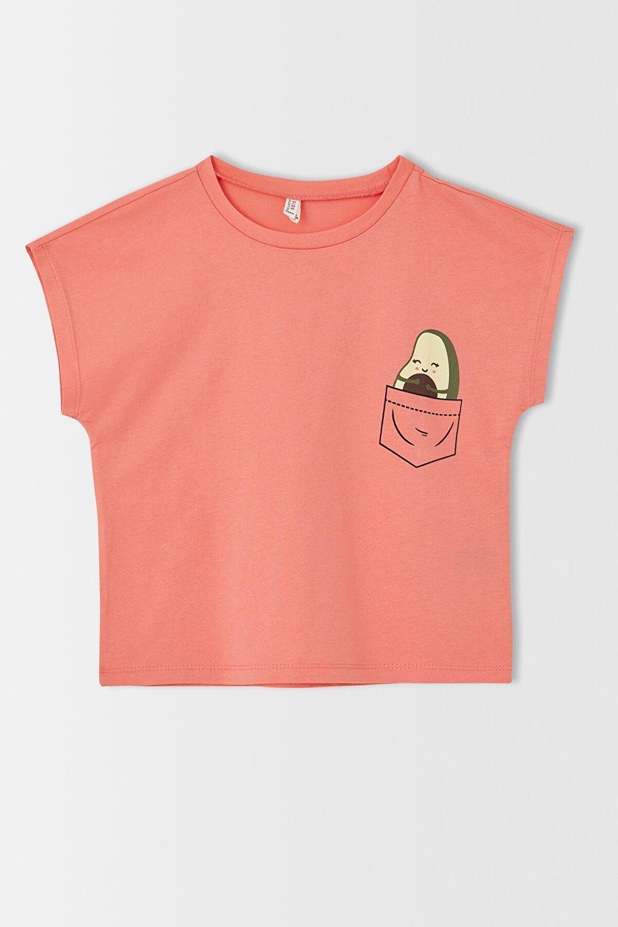 Defacto Kız Çocuk Avokado Baskılı Kısa Kollu Tişört