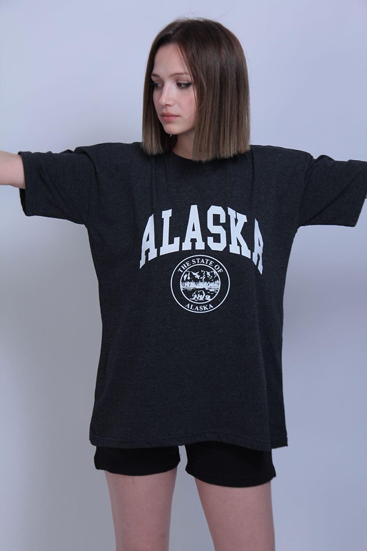 Black Sokak Kadın Füme Alaska Baskı Oversize Tshirt