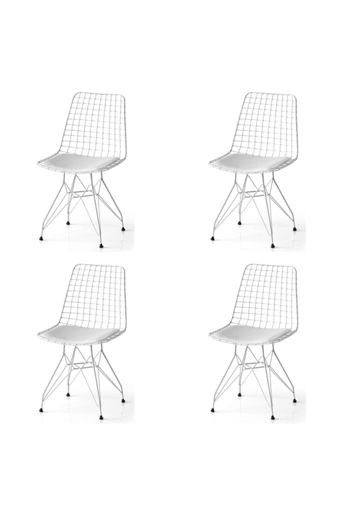 SANDALYENBURADA Tel Sandalye-beyaz--4 Lü Fiyattır--cafe Sandalye-mutfak Sandalye-bahçe Sandalye Minder Siyah
