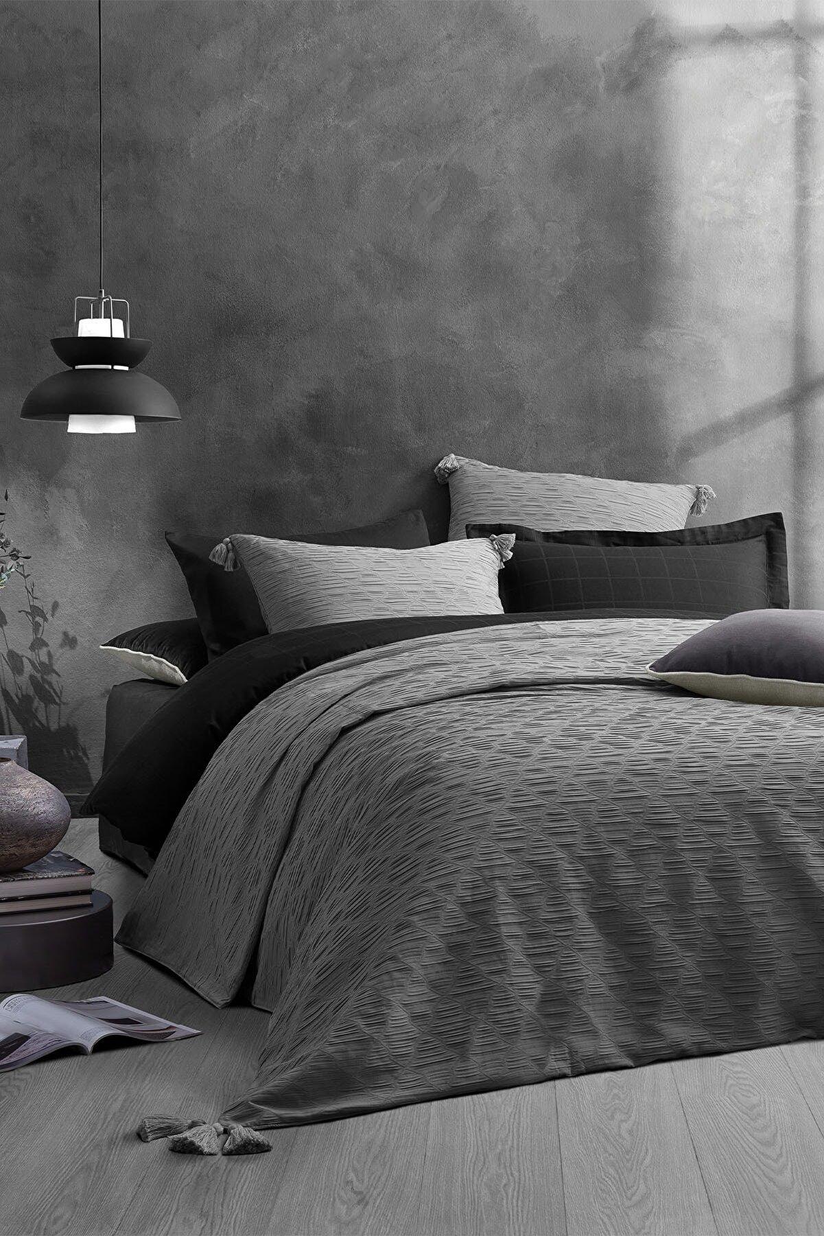 Yataş Gri Laren Çift Kişilik Yatak Örtüsü Seti