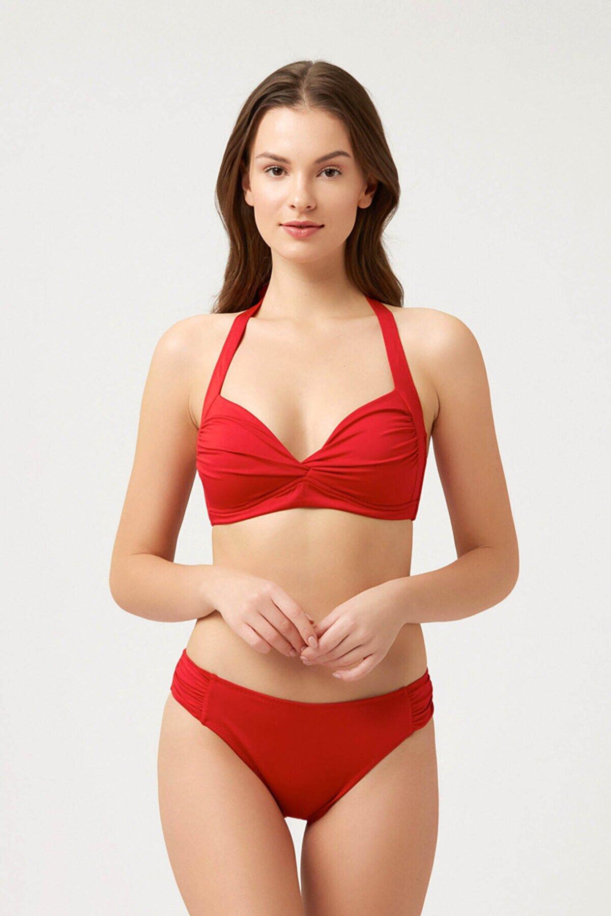 Kom Kadın Kırmızı Boyundan Askılı Bikini Takım
