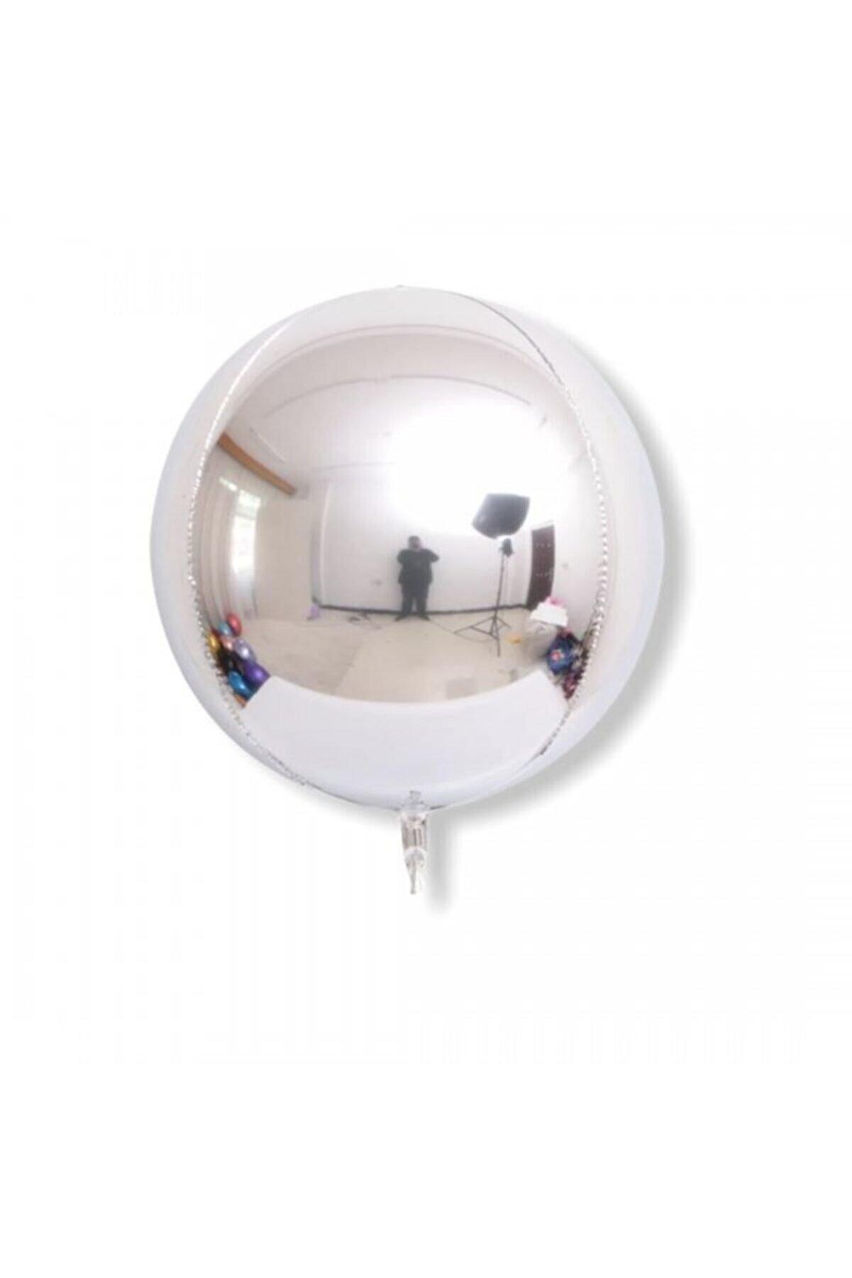 sevinç süs Gümüş Rengi Küre Hologram Folyo Balon