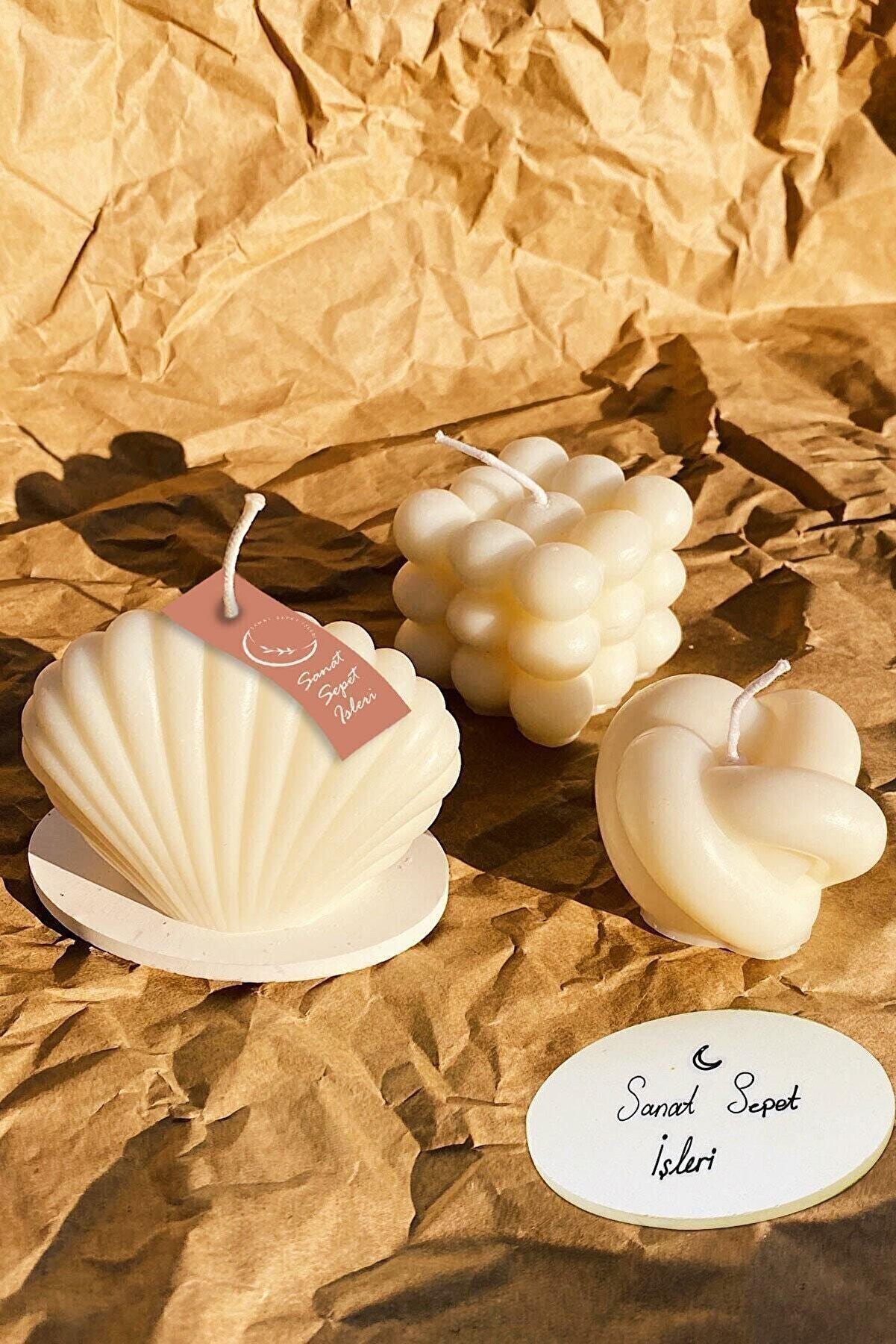 SANAT SEPET İŞLERİ Beyaz Vanilya Kokulu Bubble İstiridye Dekoratif Mum 3lü