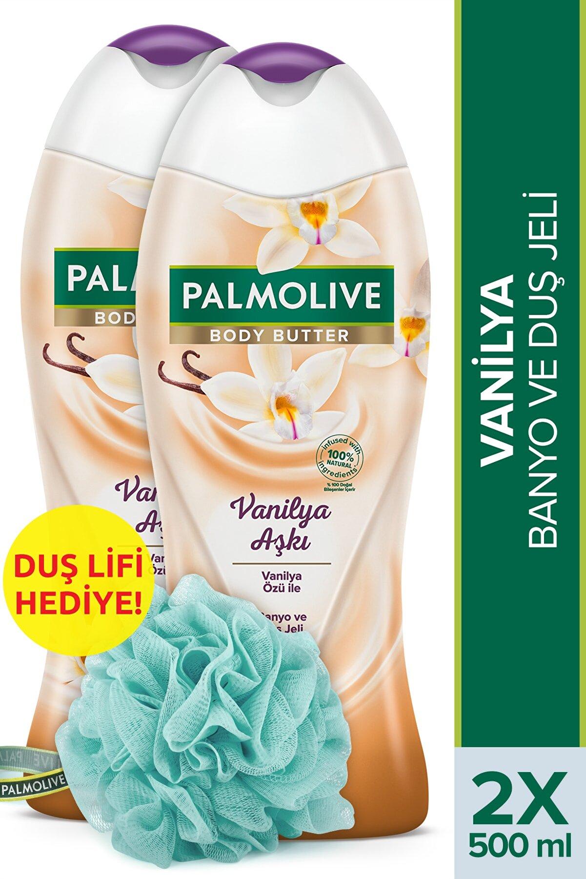 Palmolive Body Butter Vanilya Aşkı Banyo Ve Duş Jeli 500 ml X 2 Adet Duş Lifi Hediye