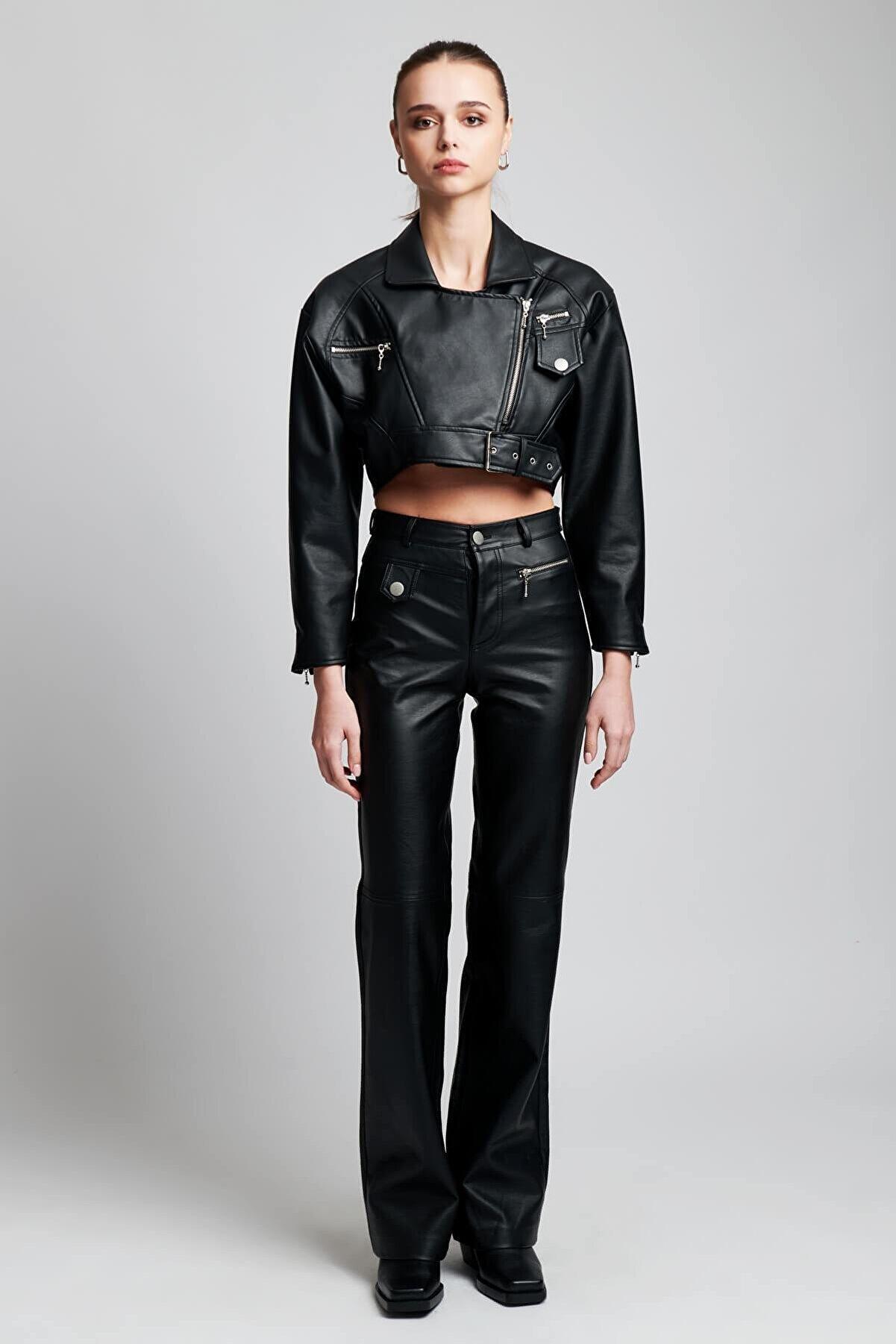 IAMNOTBASIC Kadın Siyah Deri Lauren Pantolon