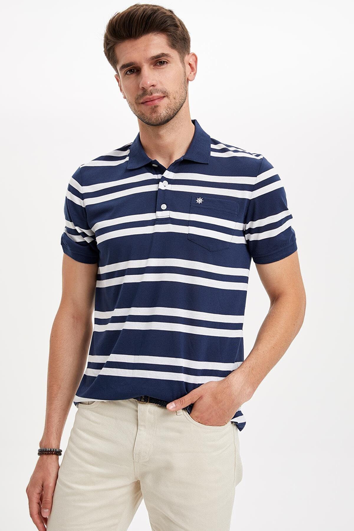 Defacto Erkek İndigo Regular Fit Polo Yaka Çizgili Kısa Kollu Tişört