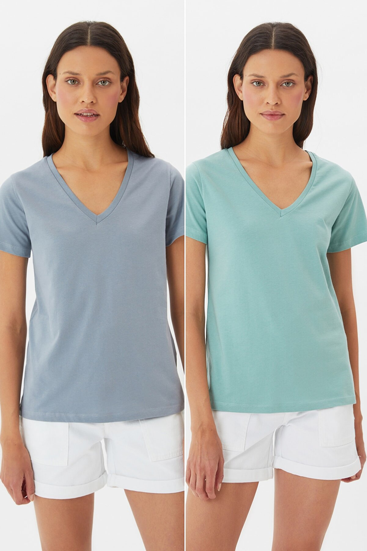 TRENDYOLMİLLA Gri-Mint %100 Pamuk Süprem V Yaka 2'li Paket Örme T-Shirt TWOSS20TS0142