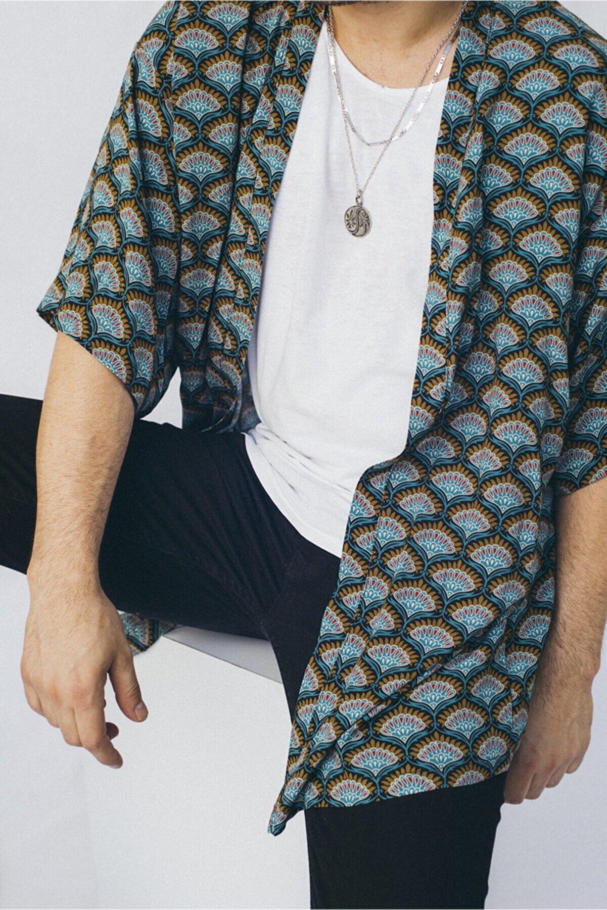 Vatkalimon Erkek Yeşil Desenli Kimono Gömlek