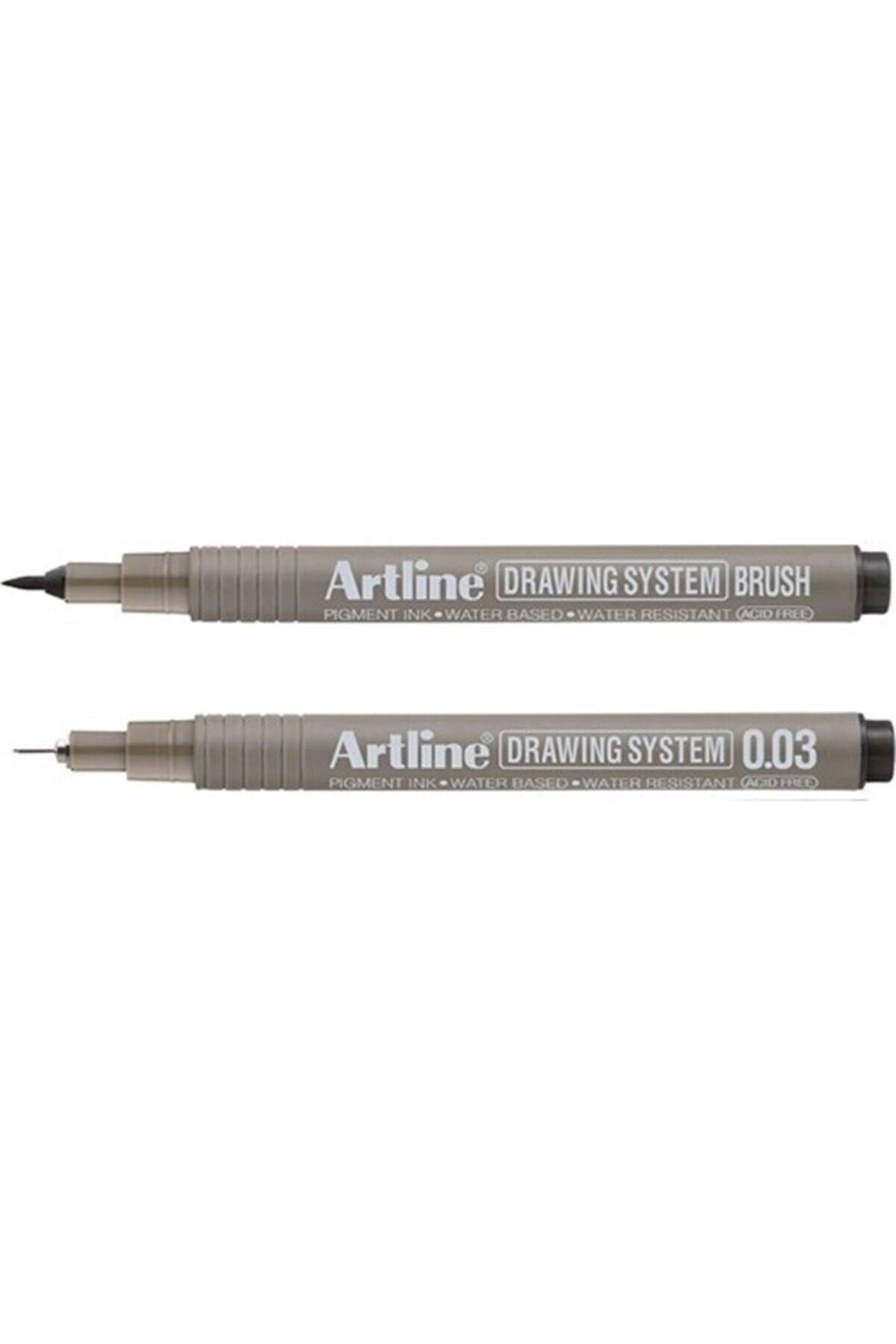 artline Drawing System Teknik Çizim Kalemi 2'li Set (brush  0.03