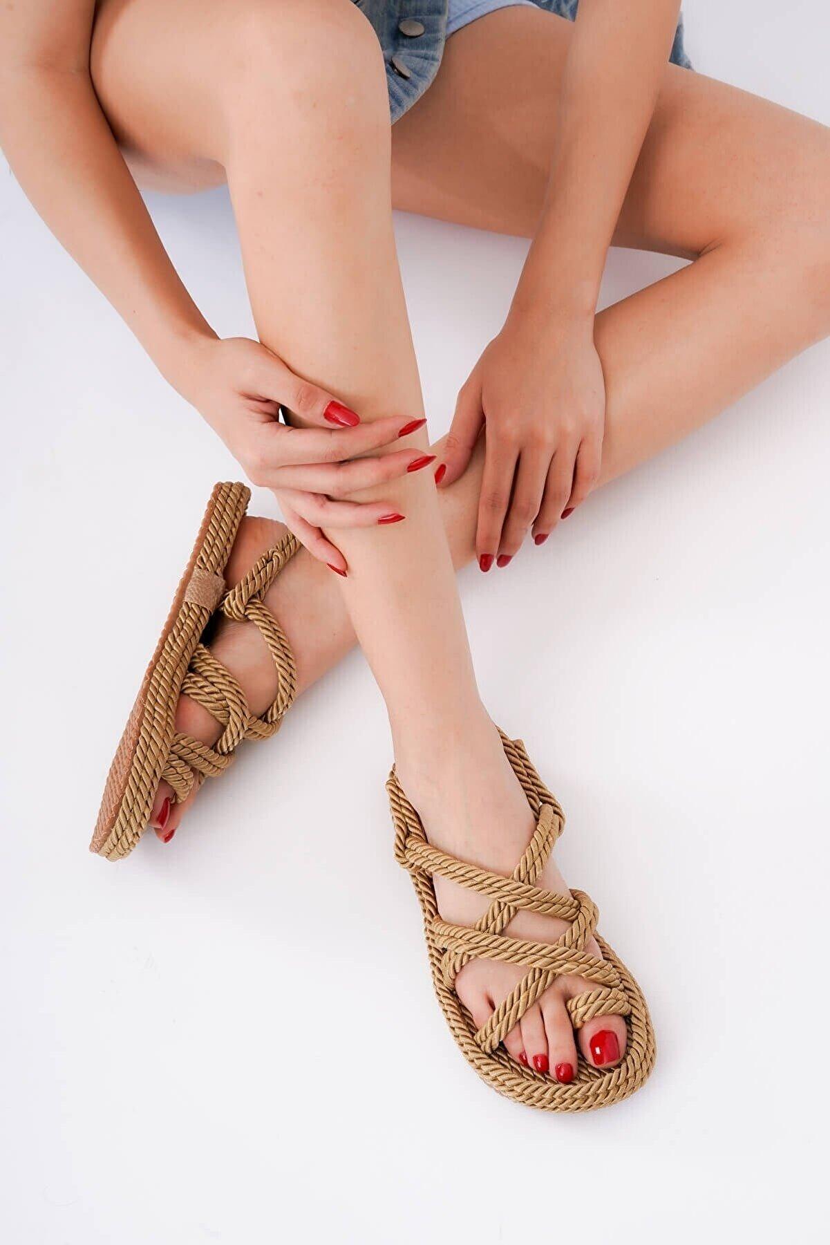 DİVOLYA Rope Gold Halat Sargılı Yazlık Sandalet