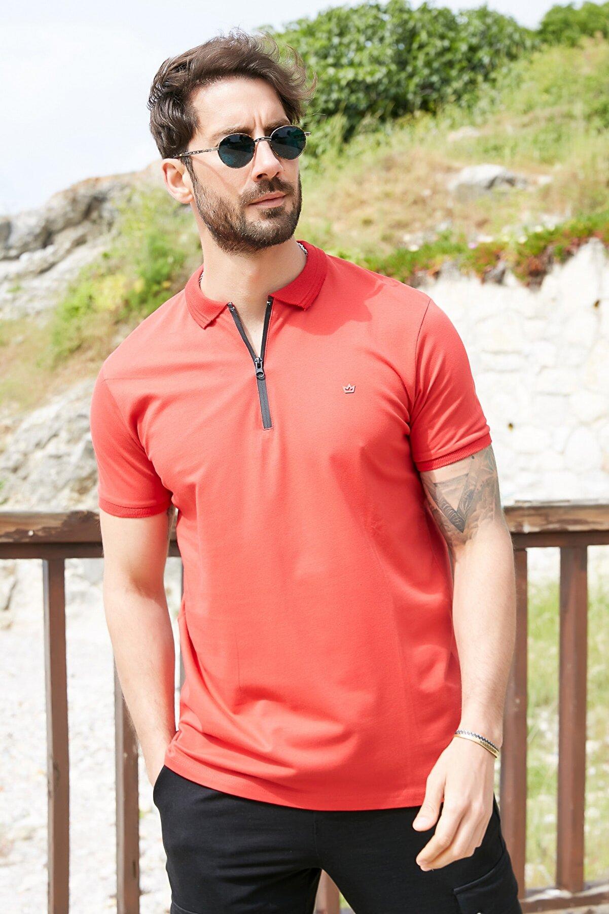 Sateen Men Erkek Kırmızı Fermuarlı Polo Yaka T-Shirt