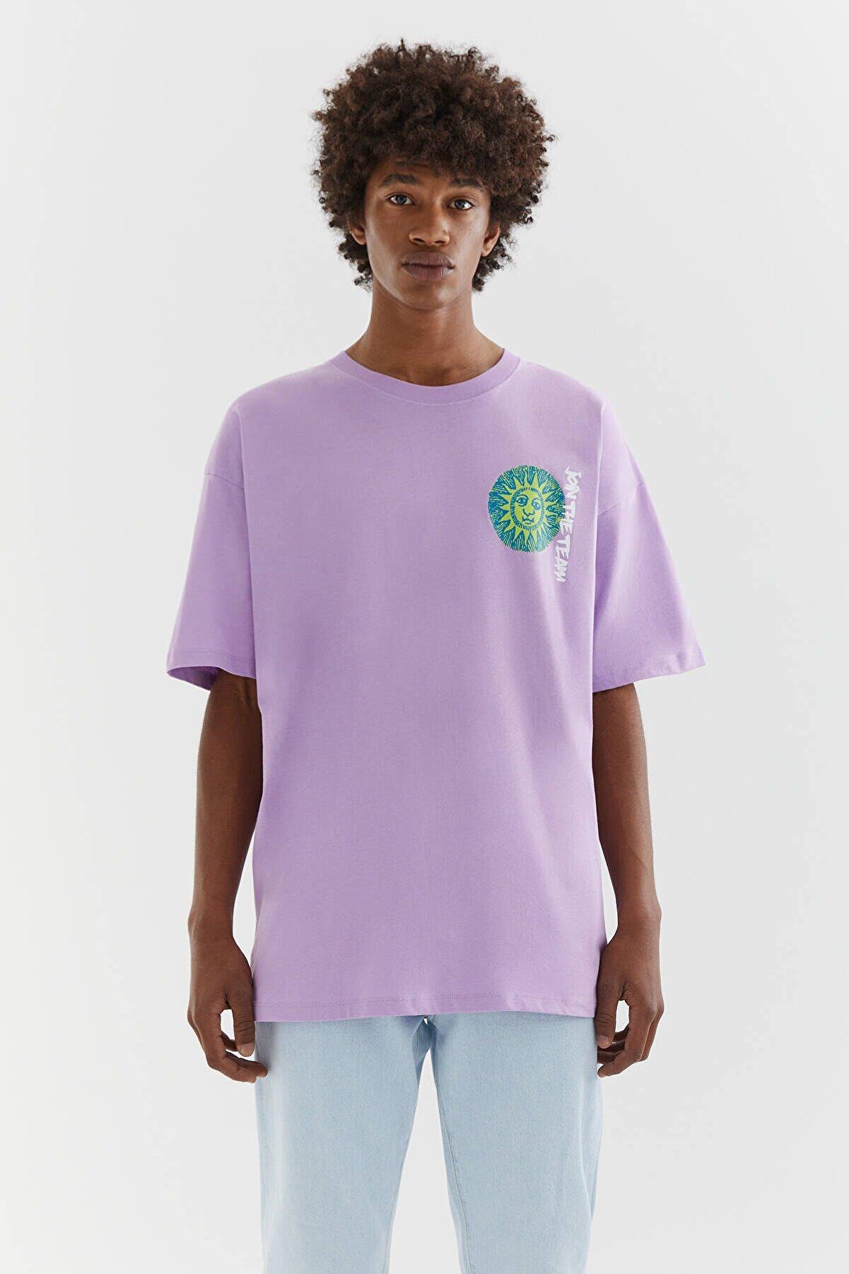 Pull & Bear Maya Görselli Mor T-Shirt