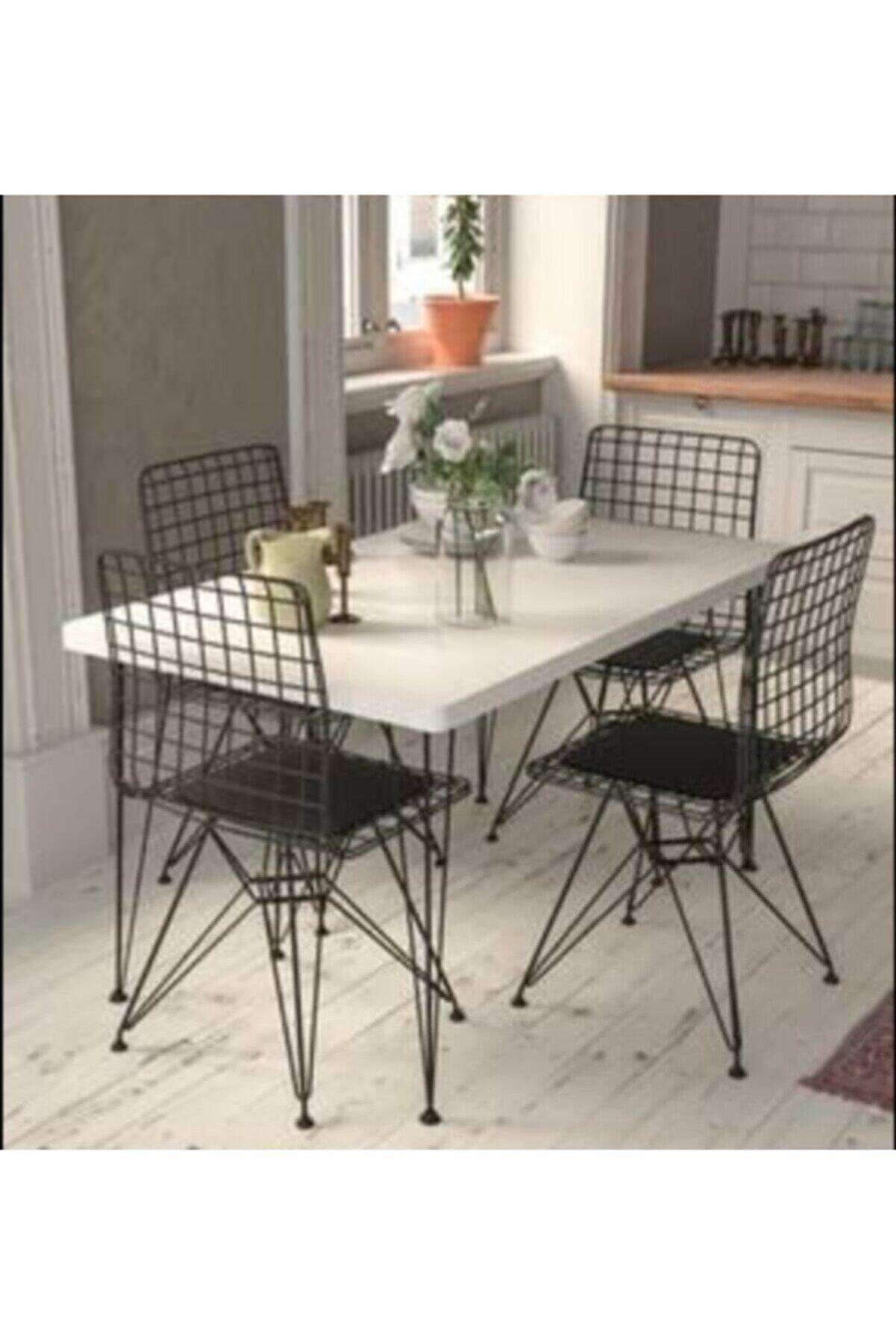 mobilyammetal Beyaz Tel Masa Sandalye Takımı