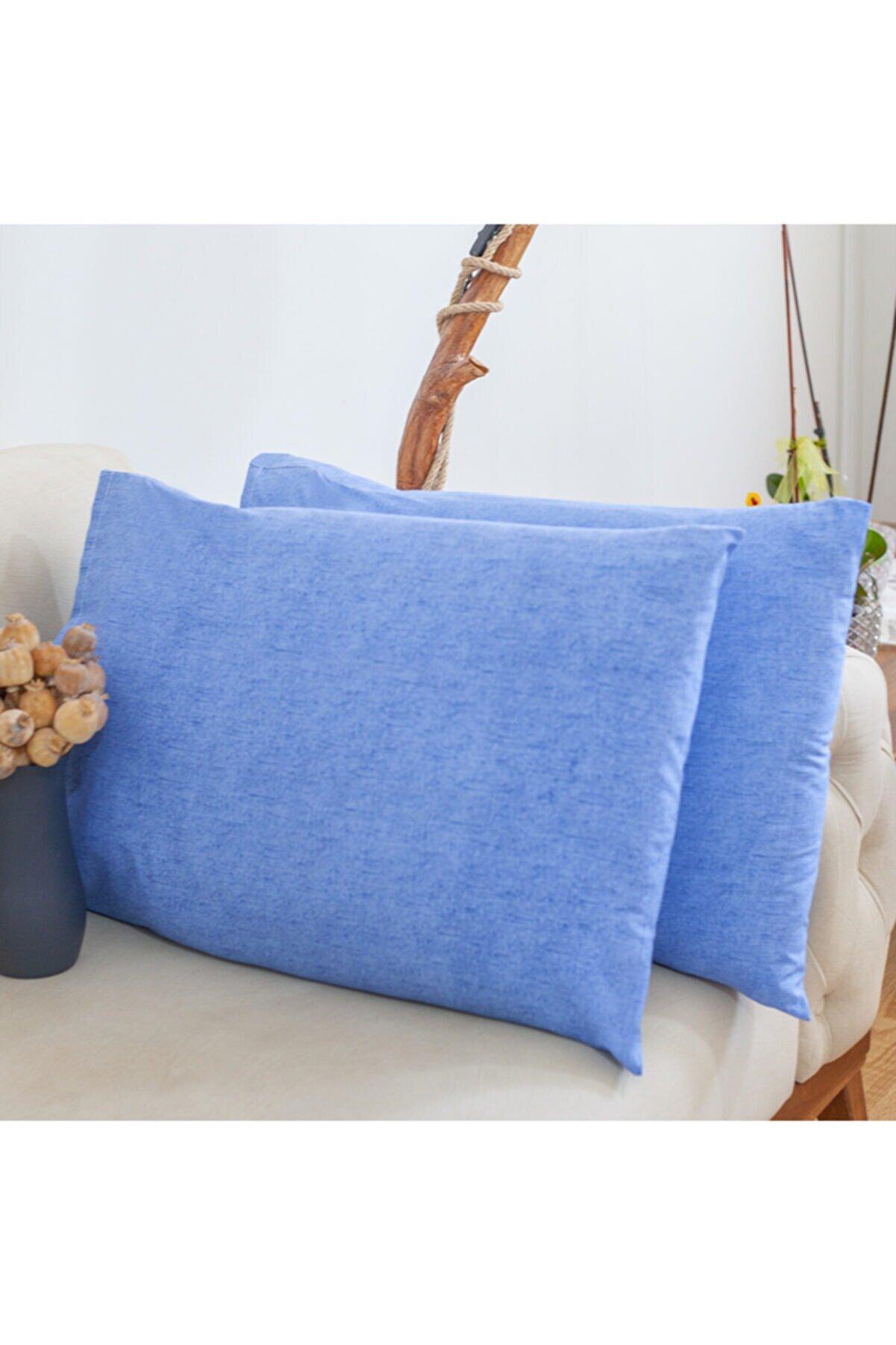 GÜNTEKS 50x70 Mavi Yastık Kılıfı Pamuk 2'li Set
