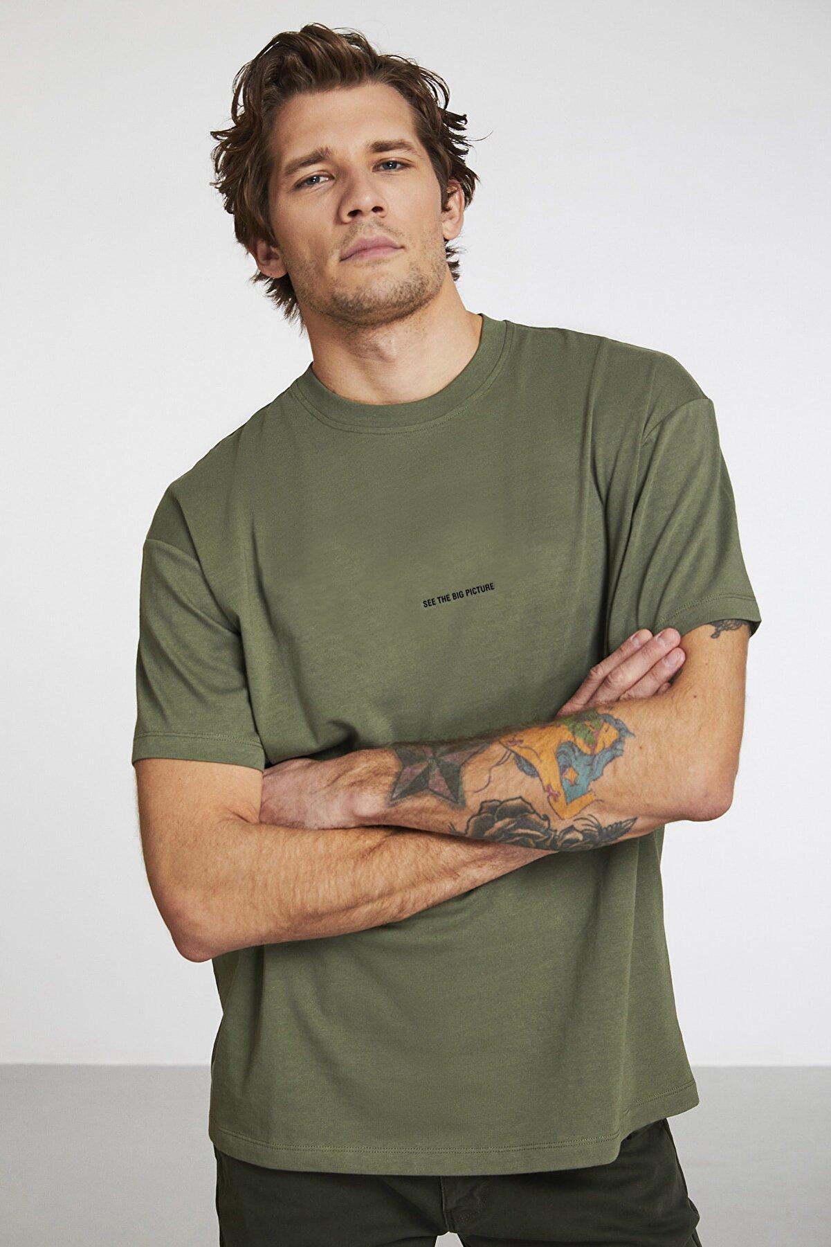 GRIMELANGE Rıver Erkek Haki Renk Önü Yazı Nakışlı Kısa Kollu Oversize T-shirt