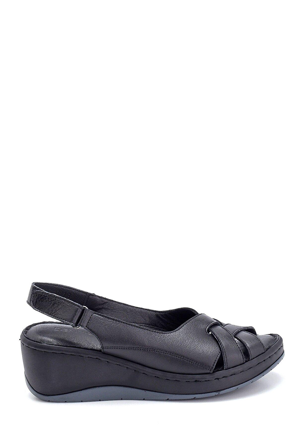 Derimod Kadın Comfort Dolgu Topuk Deri Sandalet