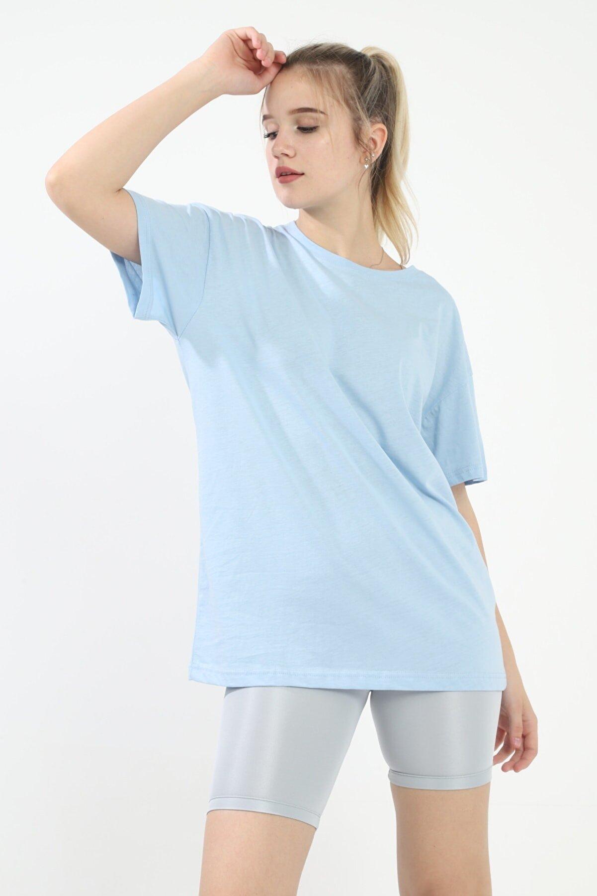 Grenj Fashion Bebe Mavi %100 Pamuk Bisiklet Yaka Oversize Örme Tshirt