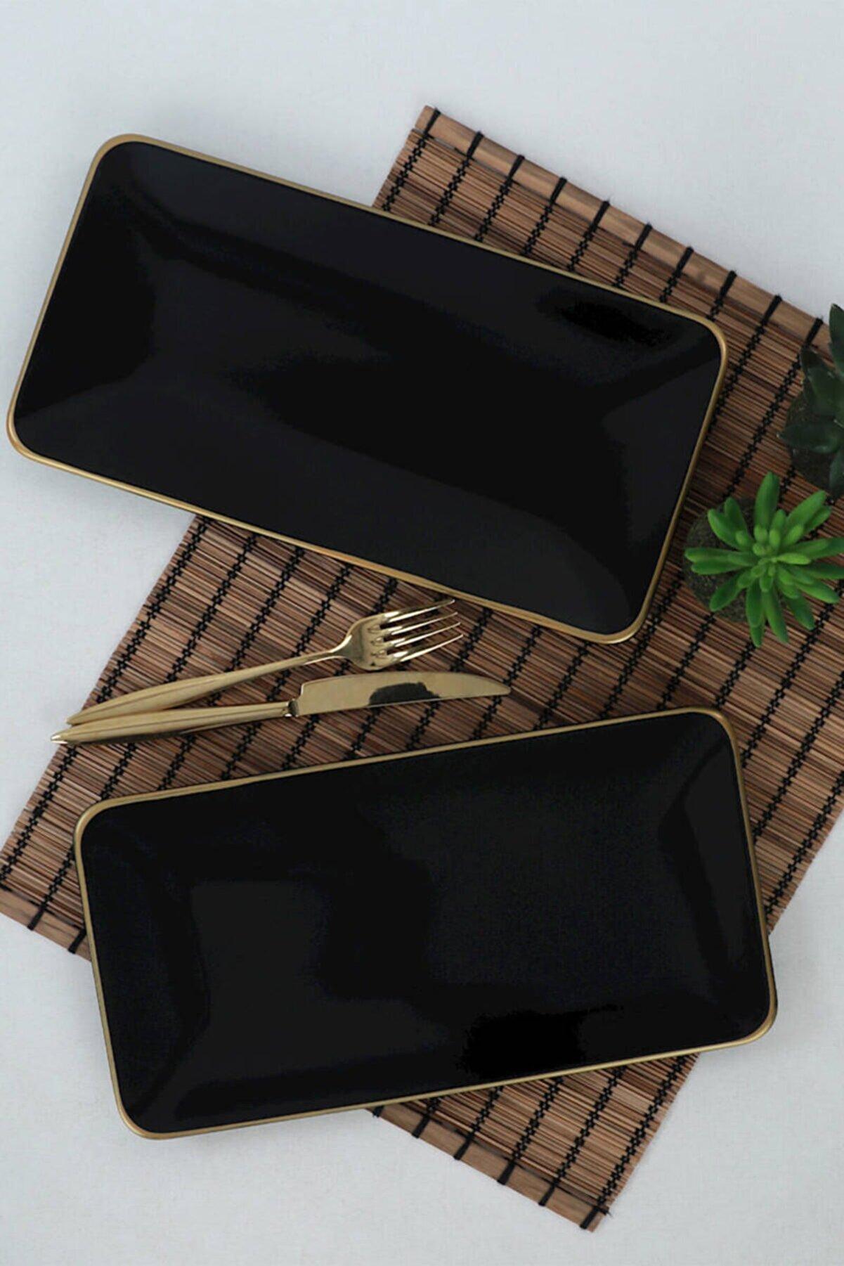 Keramika Siyah File Gold Siera Kayık Tabak 31x17 Cm 2 Adet