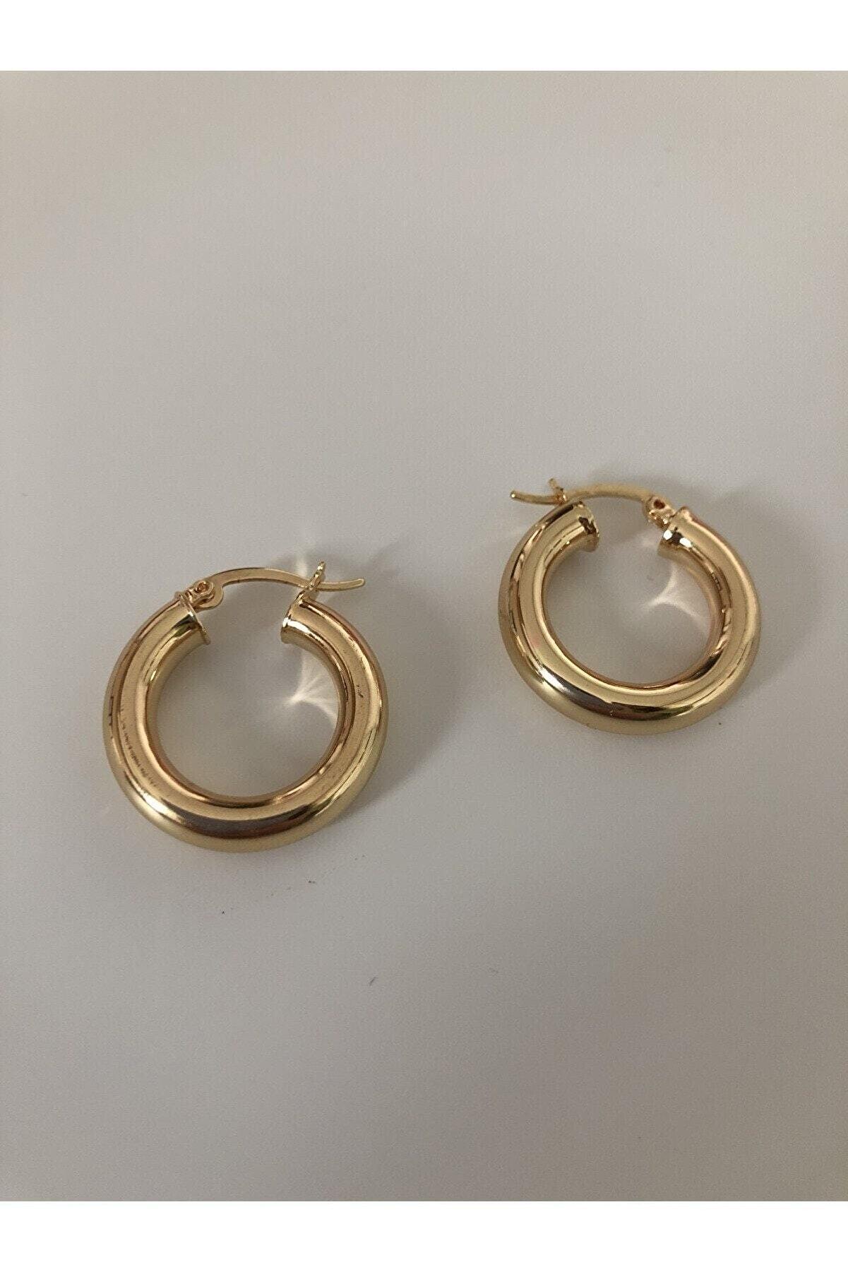 The Y Jewelry Gold Çelik Halka Küpe