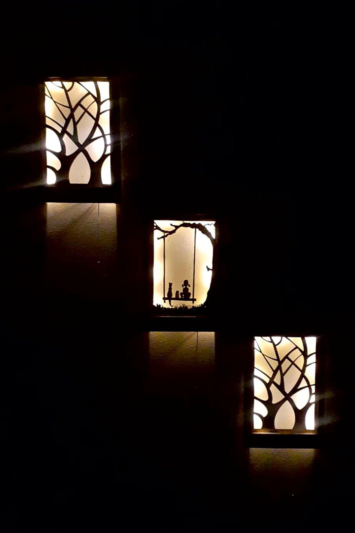 cellowood 3 Lü Set Piller Dahil Peri Ledli Masif Ahşap Tablo Ev Hediyesi Hol Antre Gece Lambası