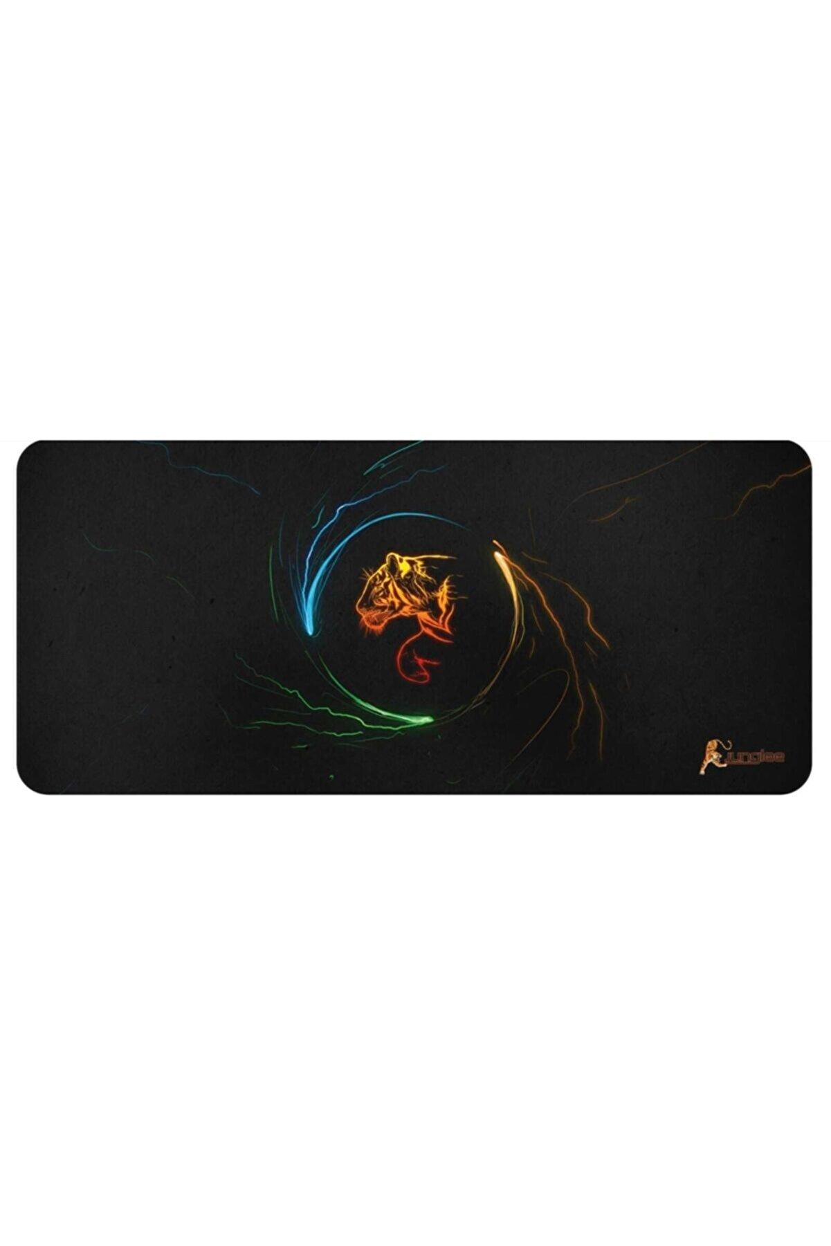 JUNGLEE Oyuncu Mousepad 70x30 Cm Kaymaz Dikişsiz Ykaplan Baskılı Büyük Boy Mouse Pad