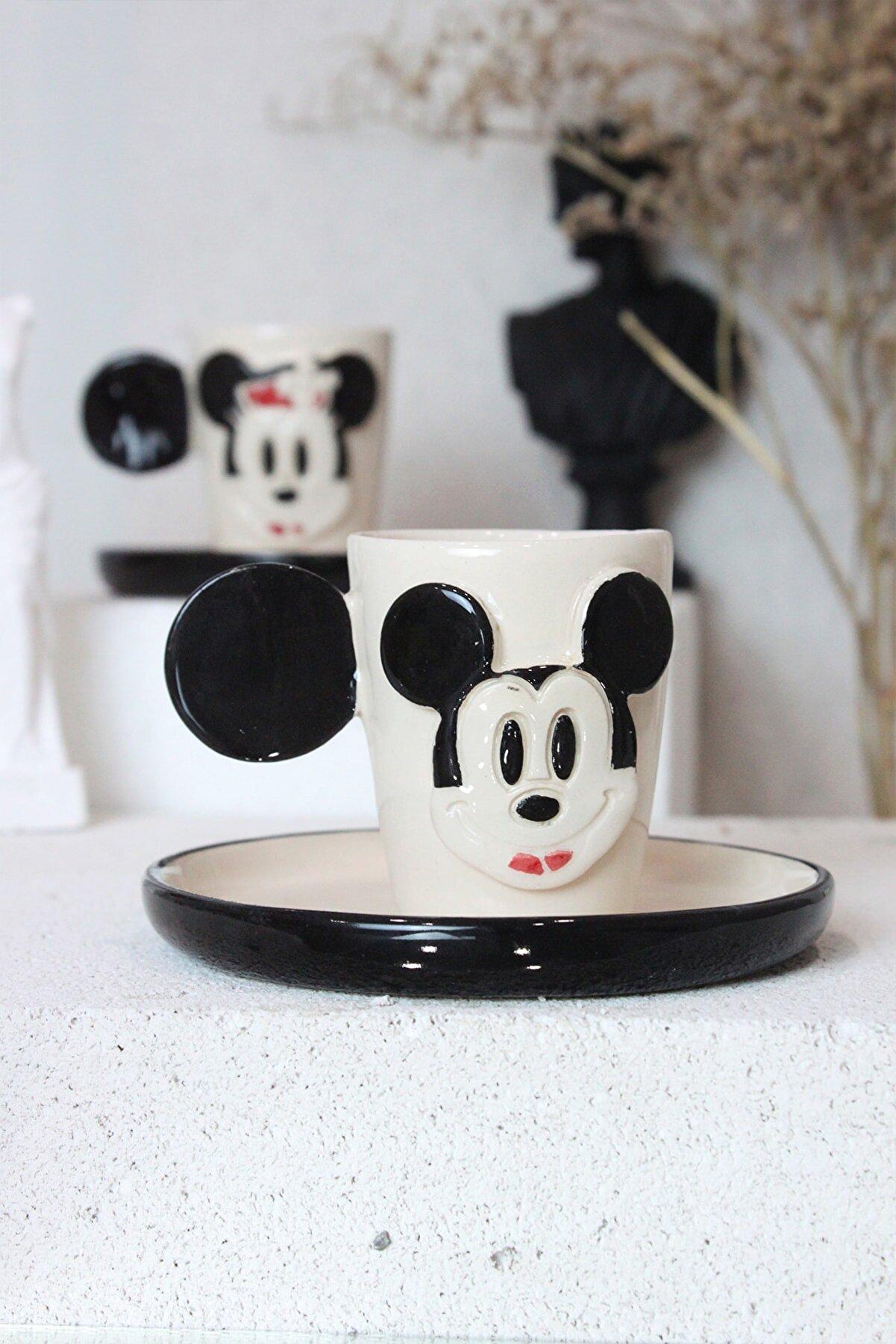 Alven Art Mickey Figürlü Seramik Kahve Fincan Takımı 2'li