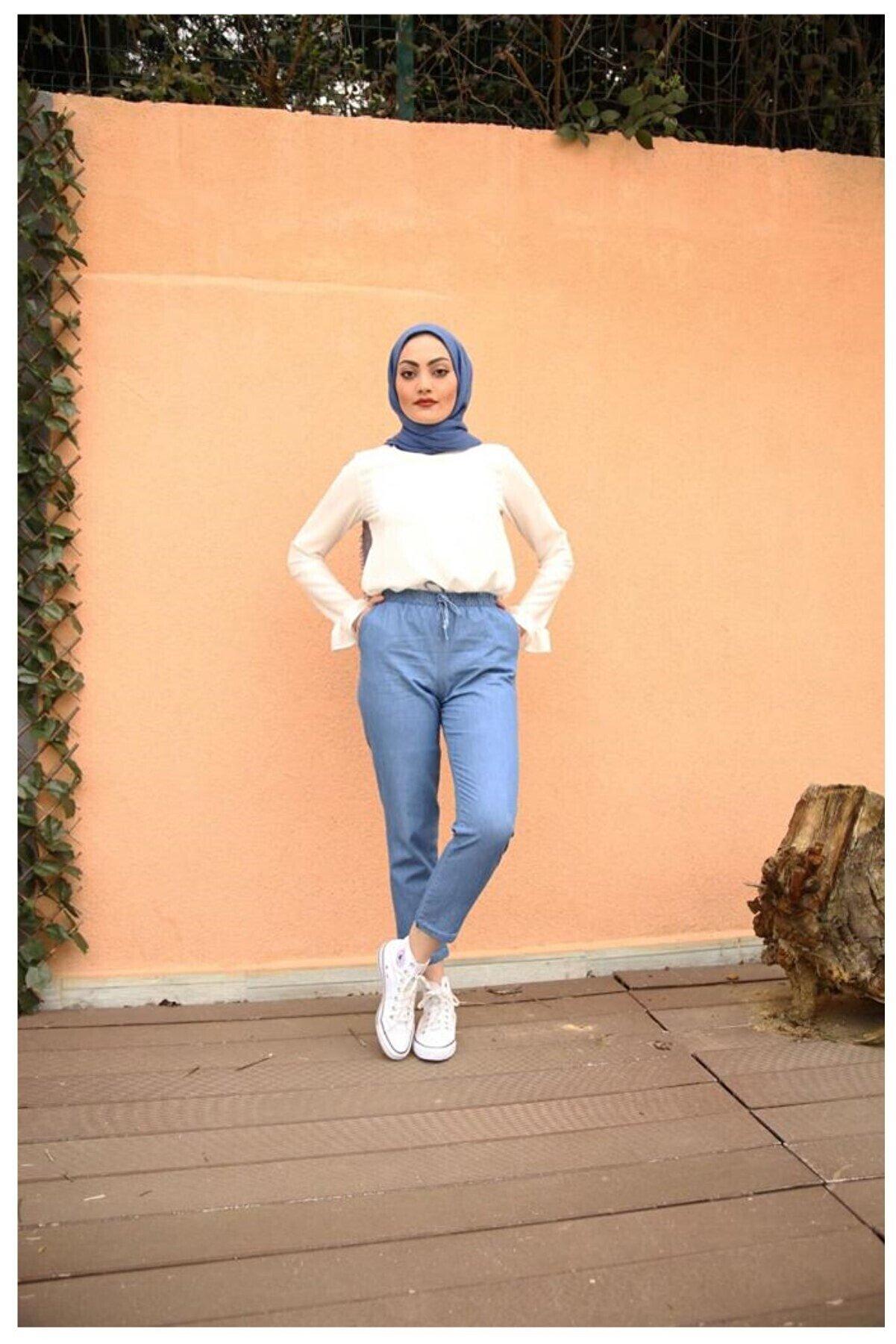ORUÇ MODA Kadın Açık Mavi Beli Lastikli Dar Paça Pantolon