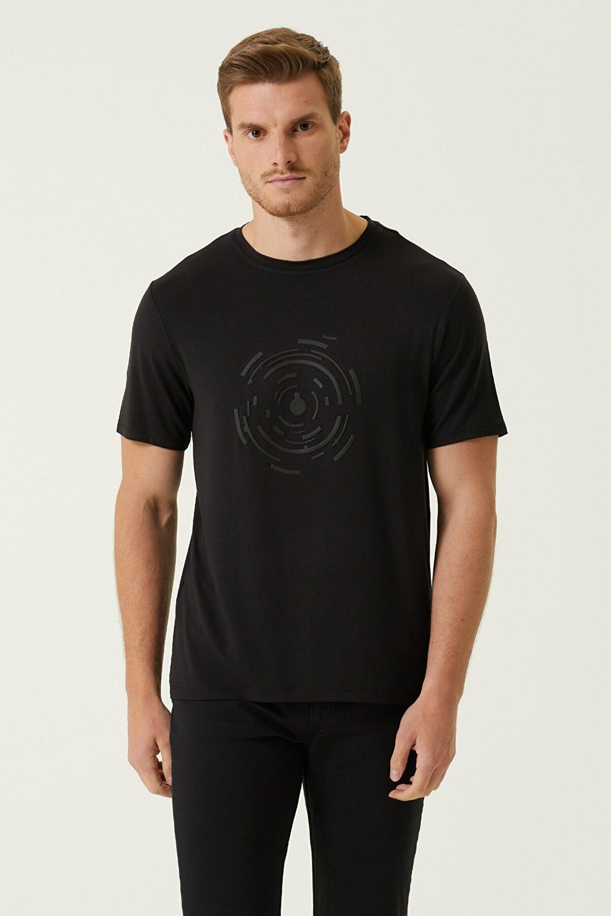 Network Erkek Slim Fit Siyah Bisiklet Yaka Baskılı T-shirt 1079840