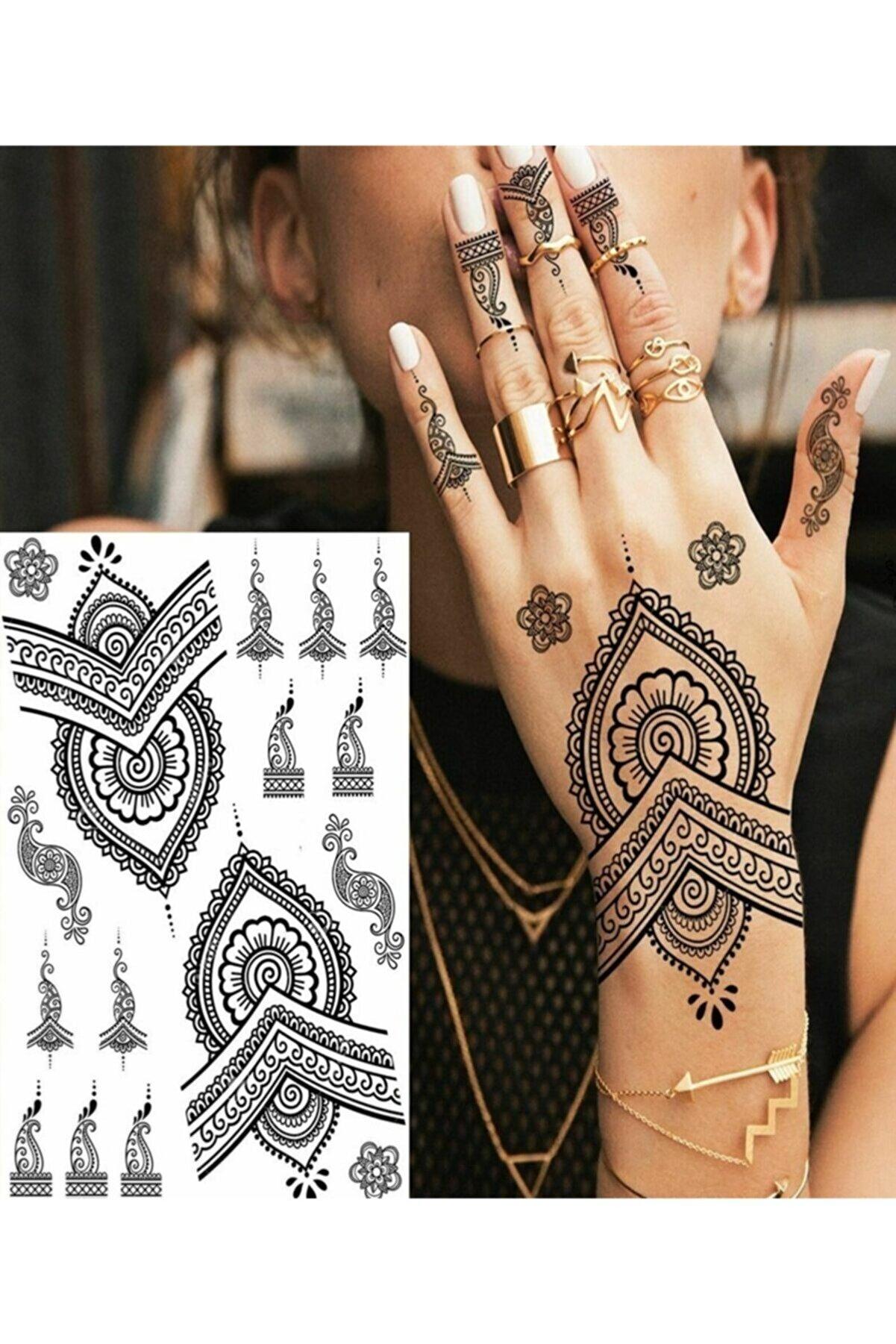 Fenomenya Hint Kınası Desenli Siyah Renk Kendin Yap Geçici Dövme