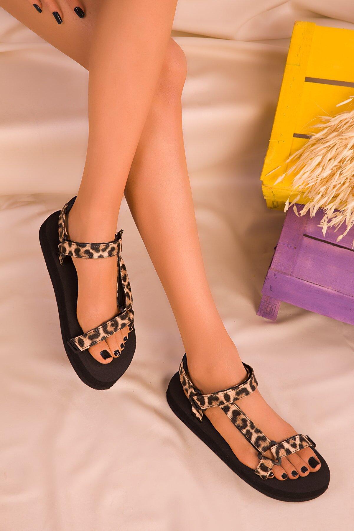 Soho Exclusive Siyah-Leopar Kadın Sandalet 16280