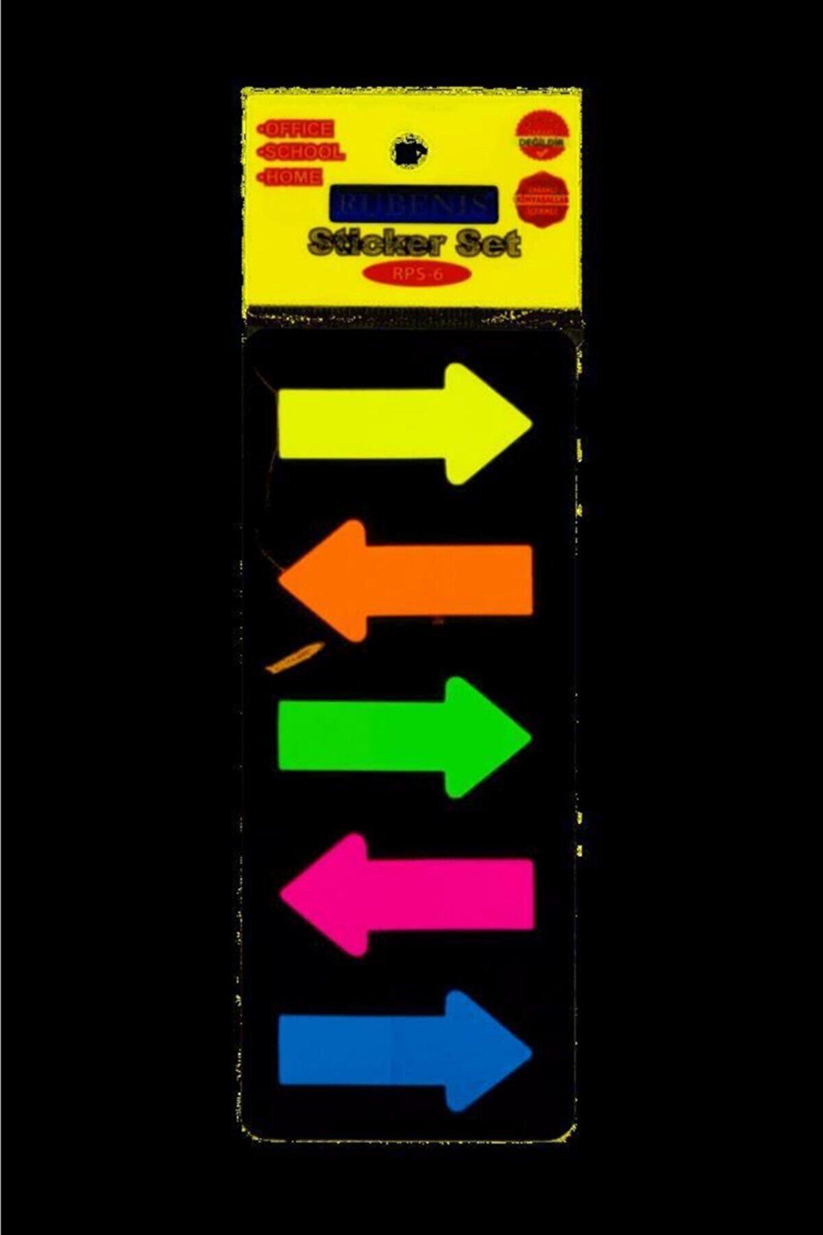 Rubenis Rps6 Yapışkanlı Ayraç Kağıt 72 Yaprak 5 Renk Ok Şekilli
