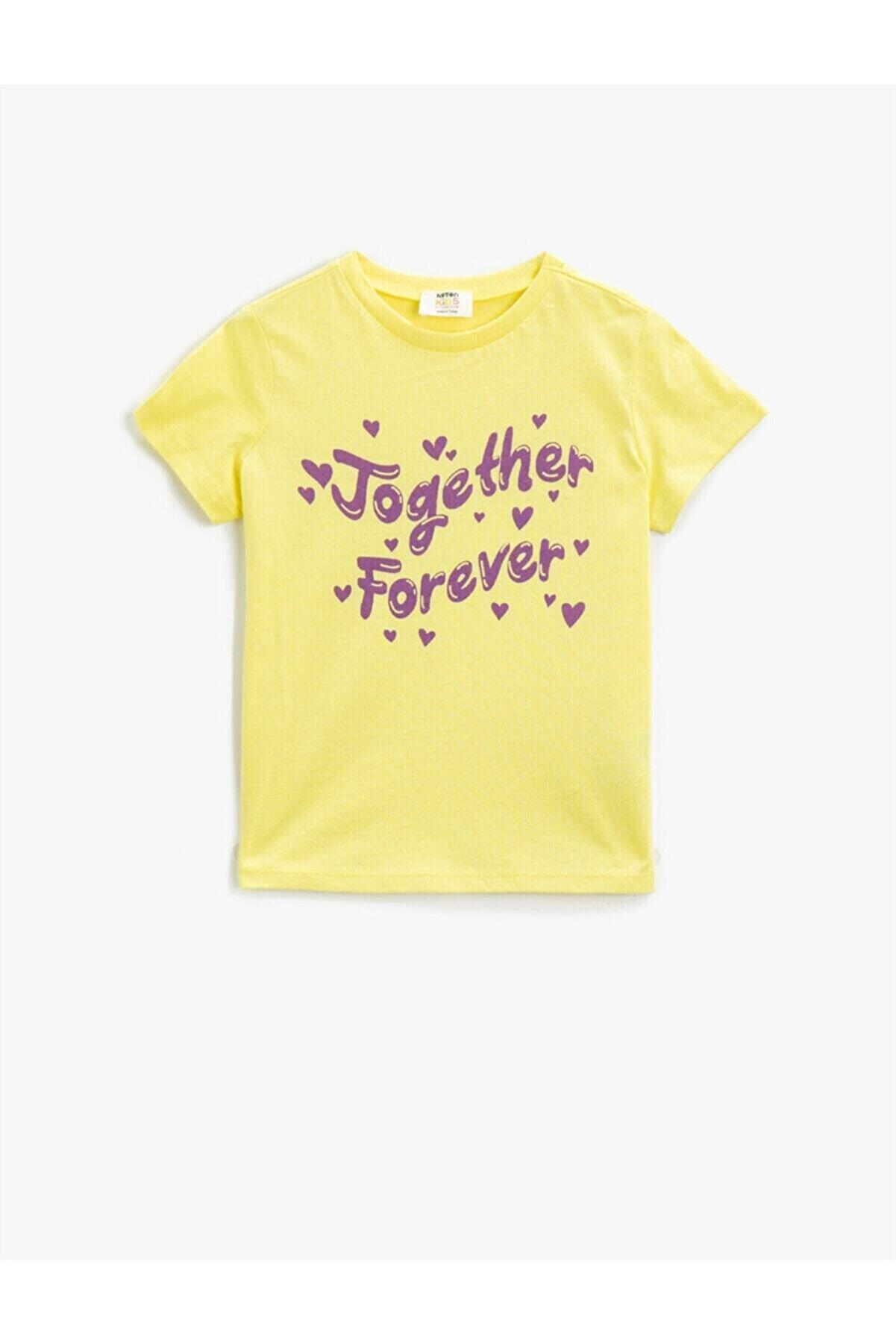 Koton Kız Çocuk Sarı Yazılı Bisiklet Yaka Kısa Kollu Pamuklu Tisört