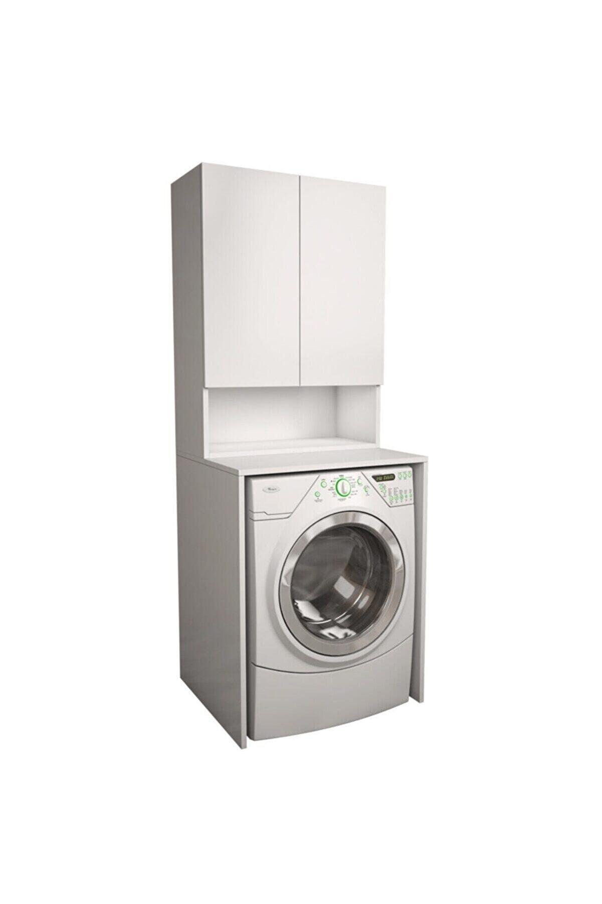banos Cd7 Çok Amaçlı Banyo Üst Dolaplı Çamaşır Makinesi Dolabı Takımı - Beyaz