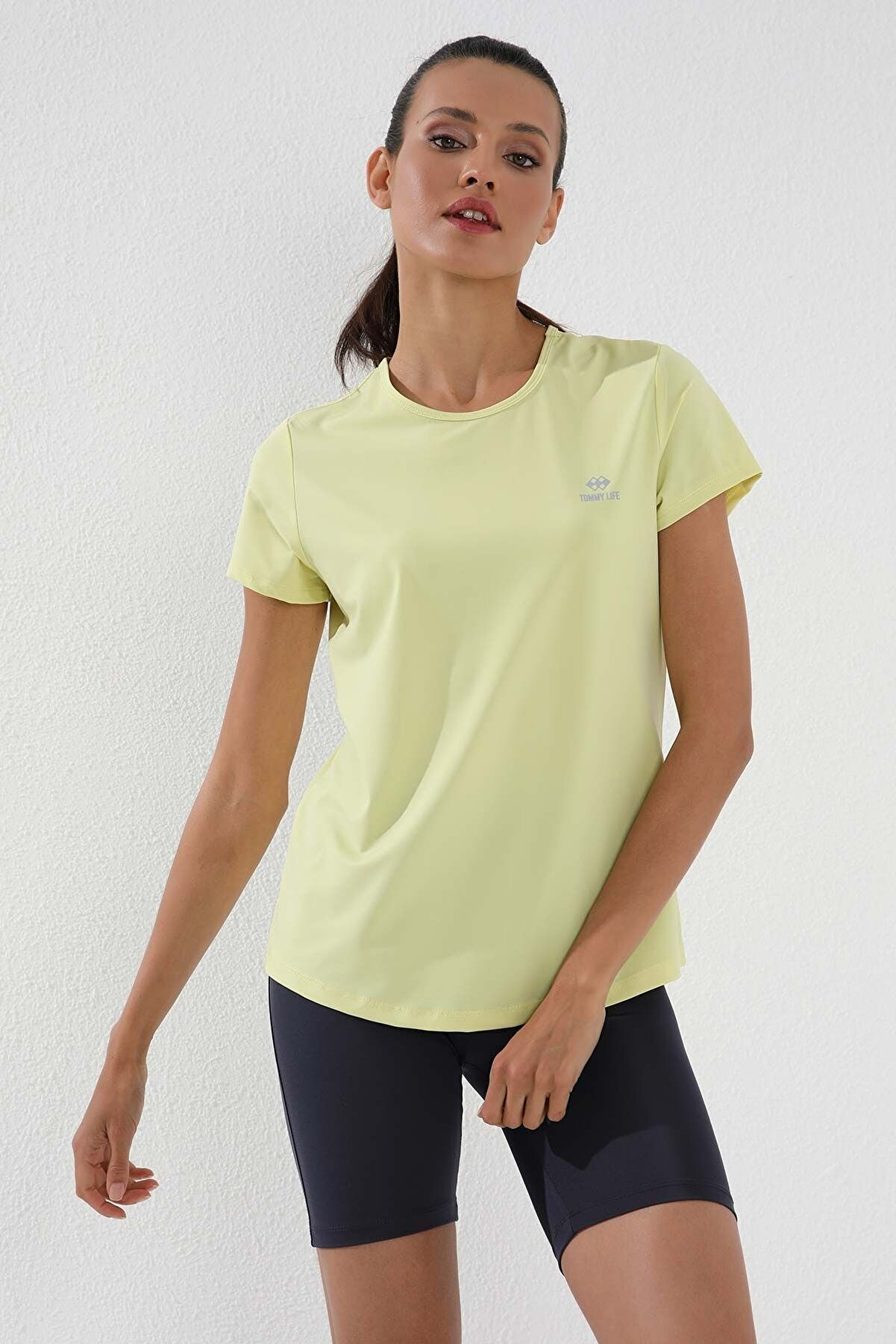 Tommy Life Limon Kadın Basic Kısa Kol Standart Kalıp O Yaka T-shirt - 97144