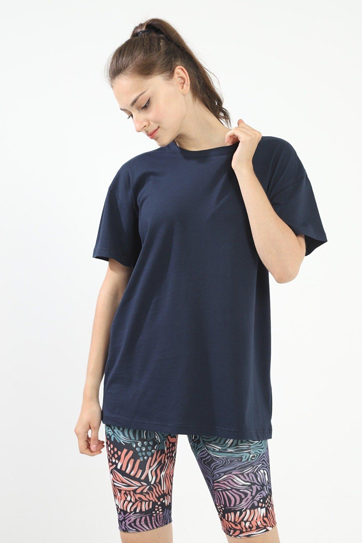 Grenj Fashion Lacivert %100 Pamuk Bisiklet Yaka Oversize Örme Tshirt