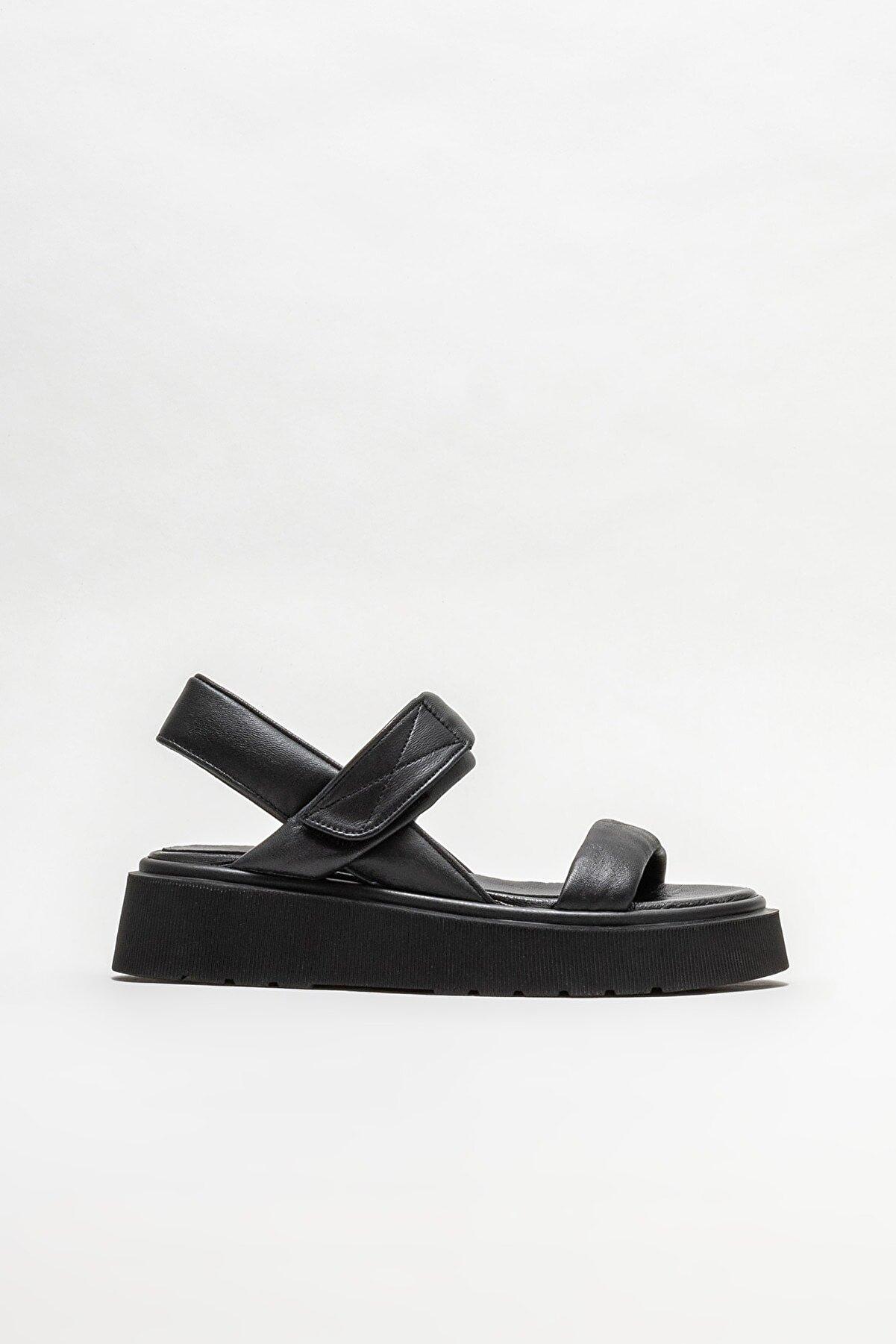 Elle Siyah Deri Kadın Spor Sandalet