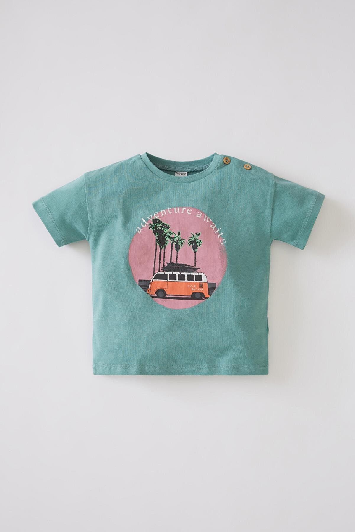 Defacto Erkek Bebek Araba Baskılı Kısa Kollu Pamuklu Tişört