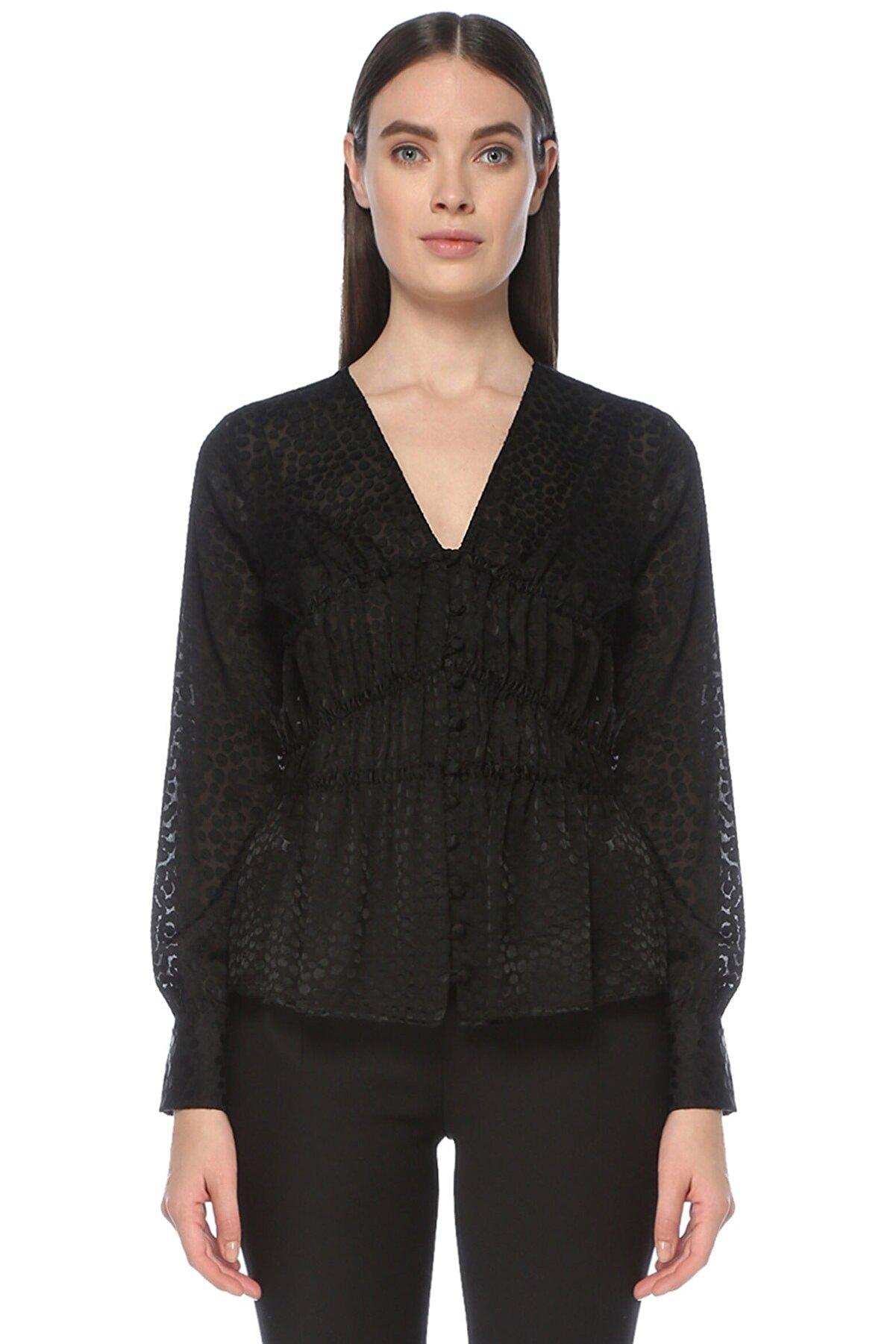 Network Kadın Siyah Siyah V Yaka Desenli Gömlek 1076342