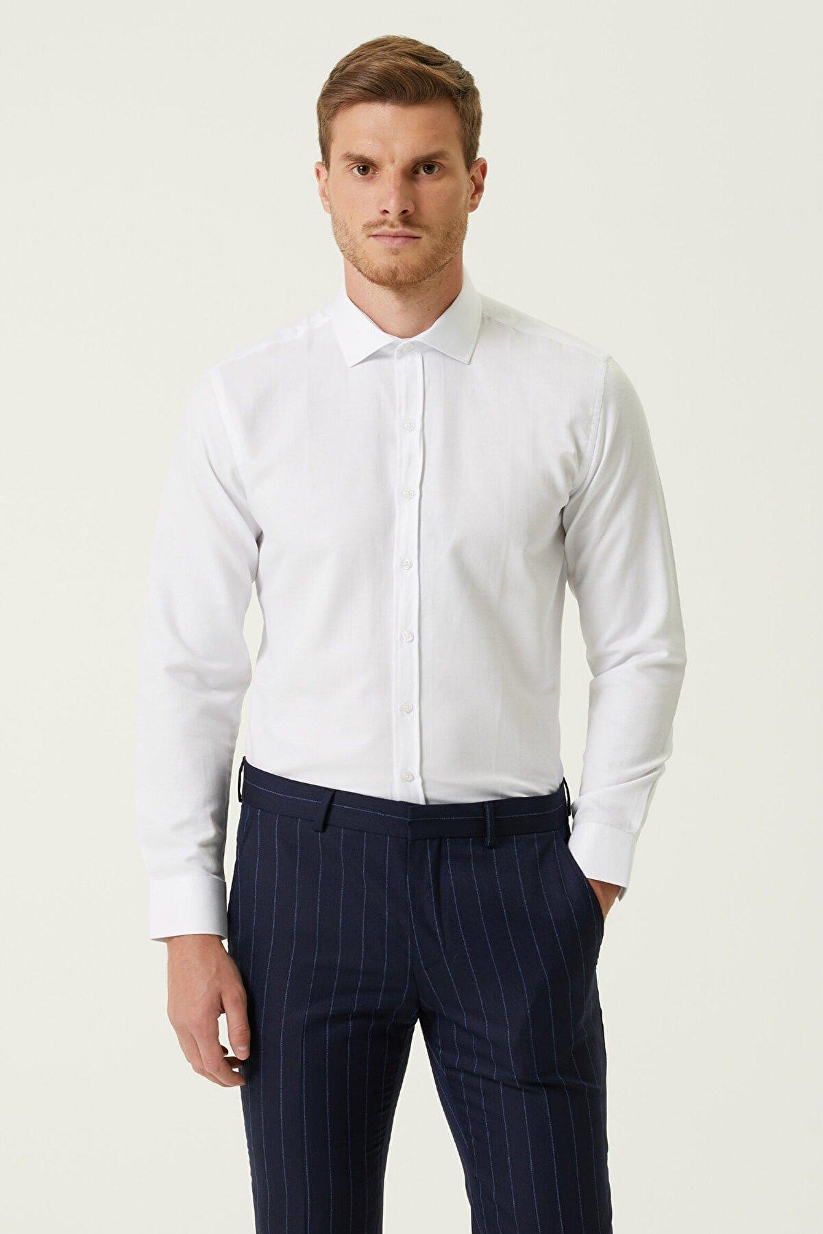 Network Erkek Slim Fit Beyaz İtalyan Yaka Armürlü Gömlek 1078139