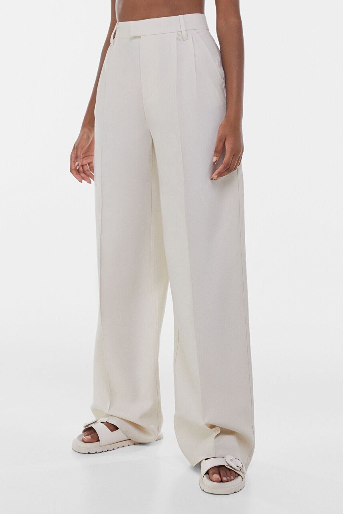 Bershka Kadın Bej Wide Leg Pantolon