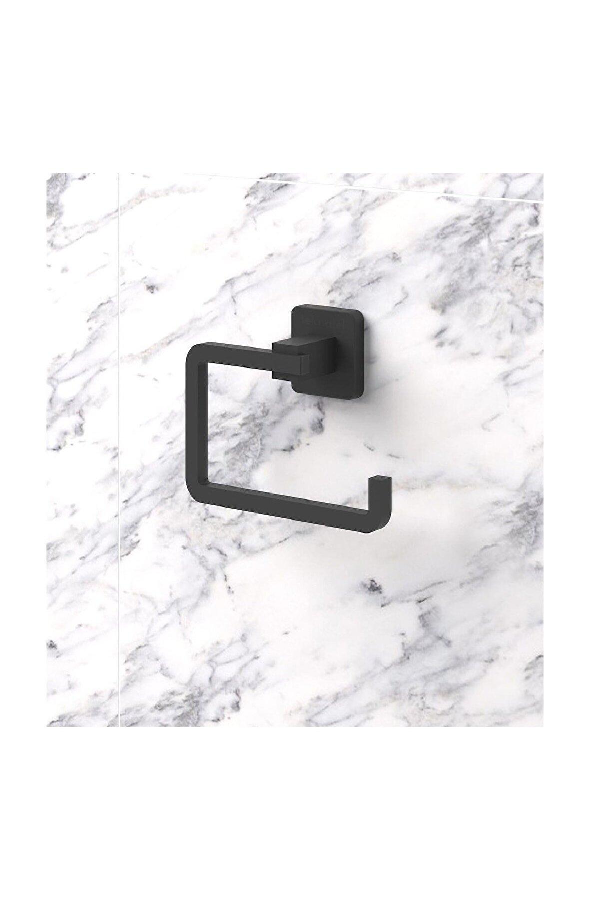 Alz Banyo Kare Mat Siyah Tuvalet Kağıtlığı - Kağıtlık